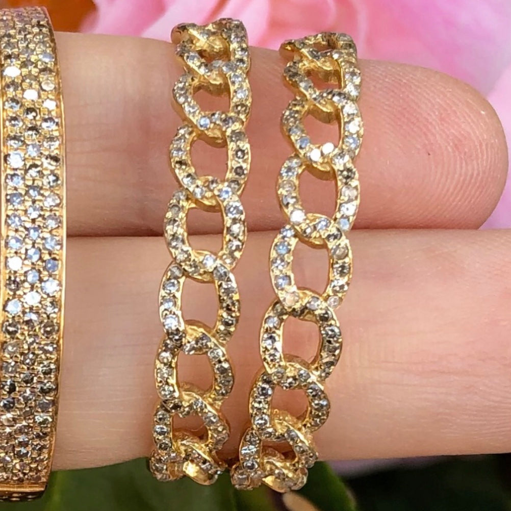 Chain Link Diamond Hoops