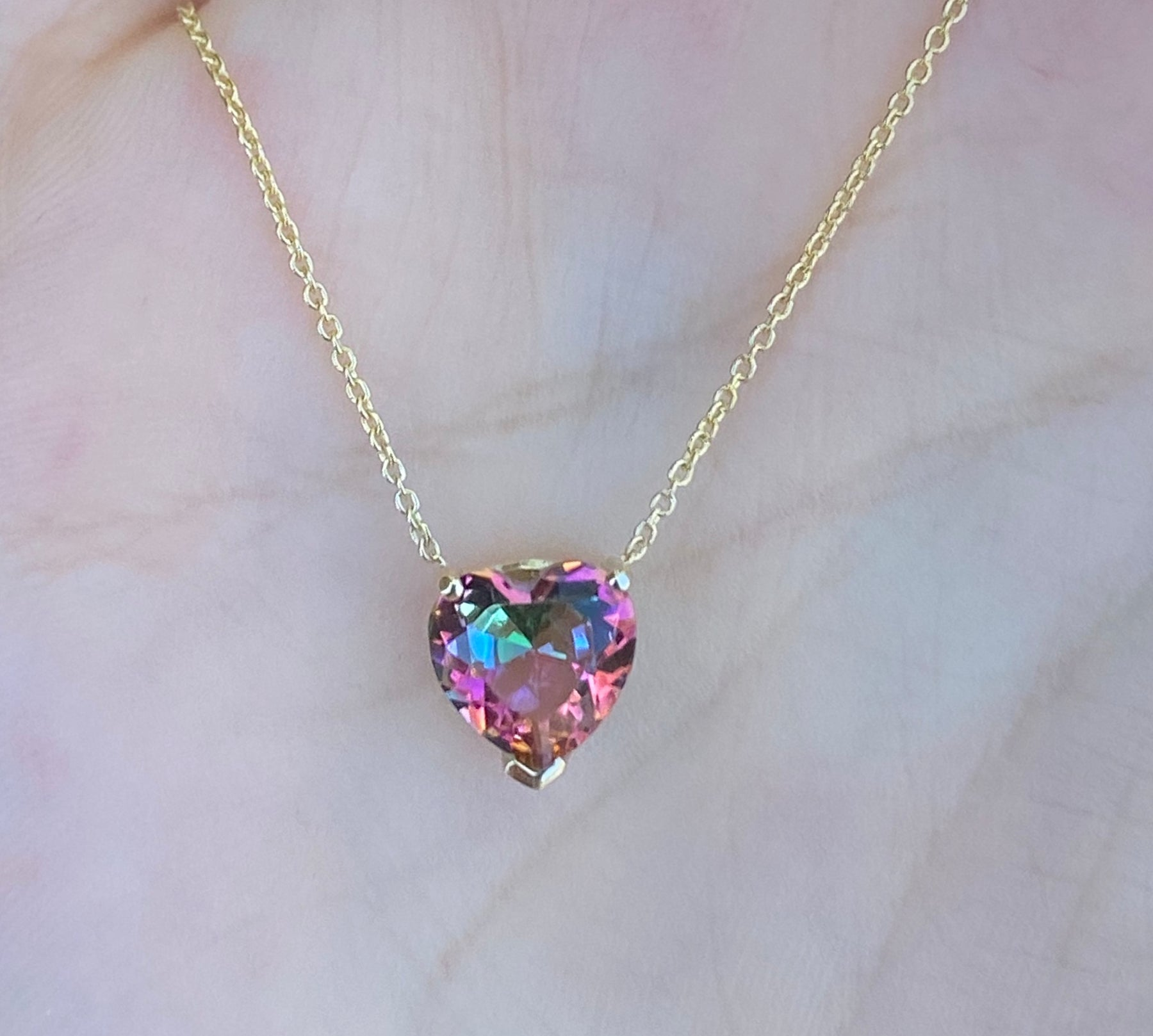 Pink Mystic Topaz Heart Necklace