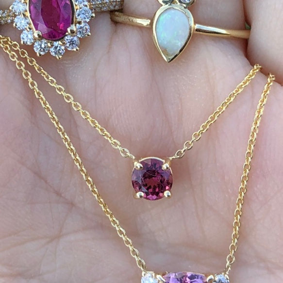 Gem Candy Small Pink Tourmaline Round Necklace