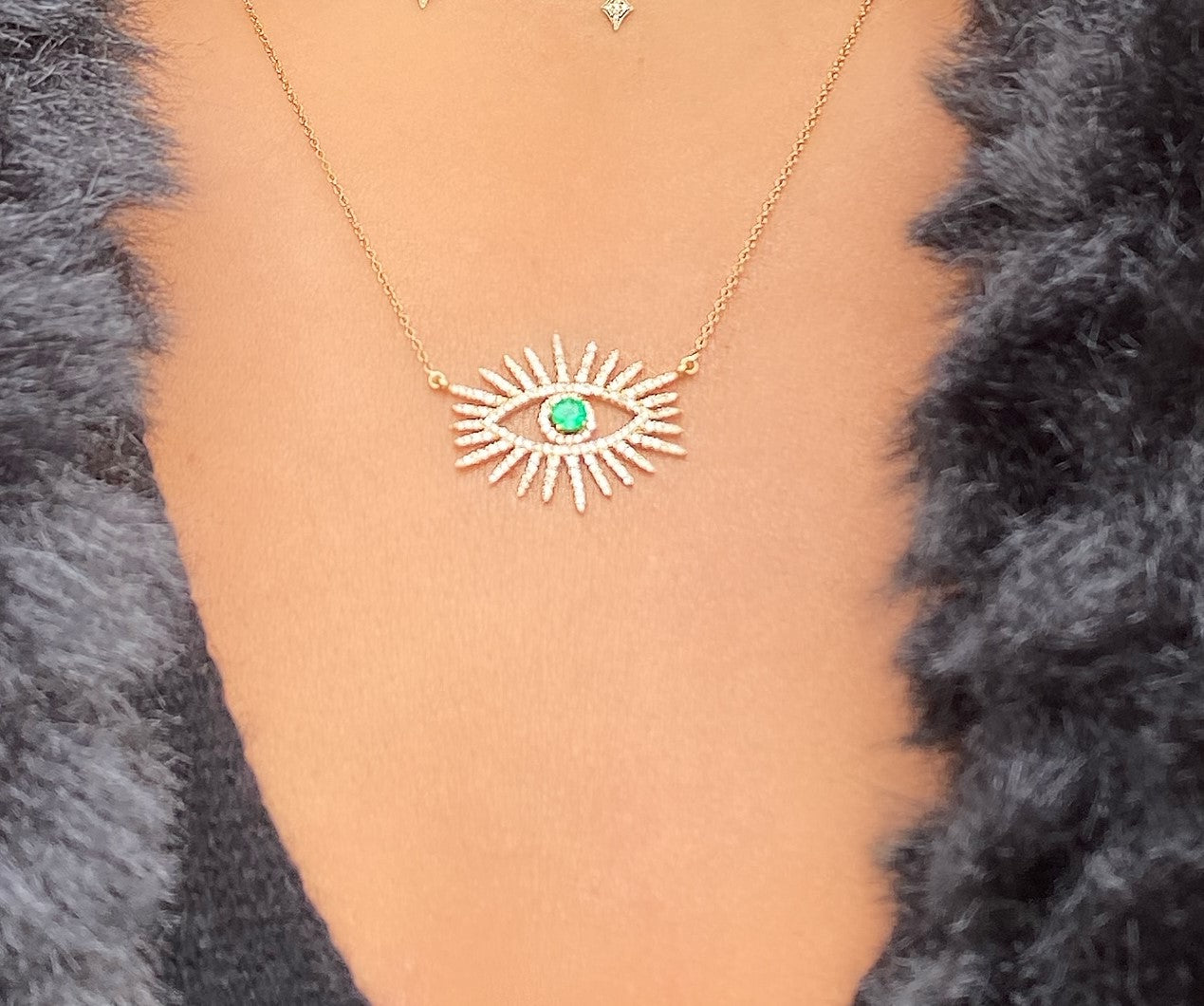 Emerald And Diamond Evil Eye Necklace