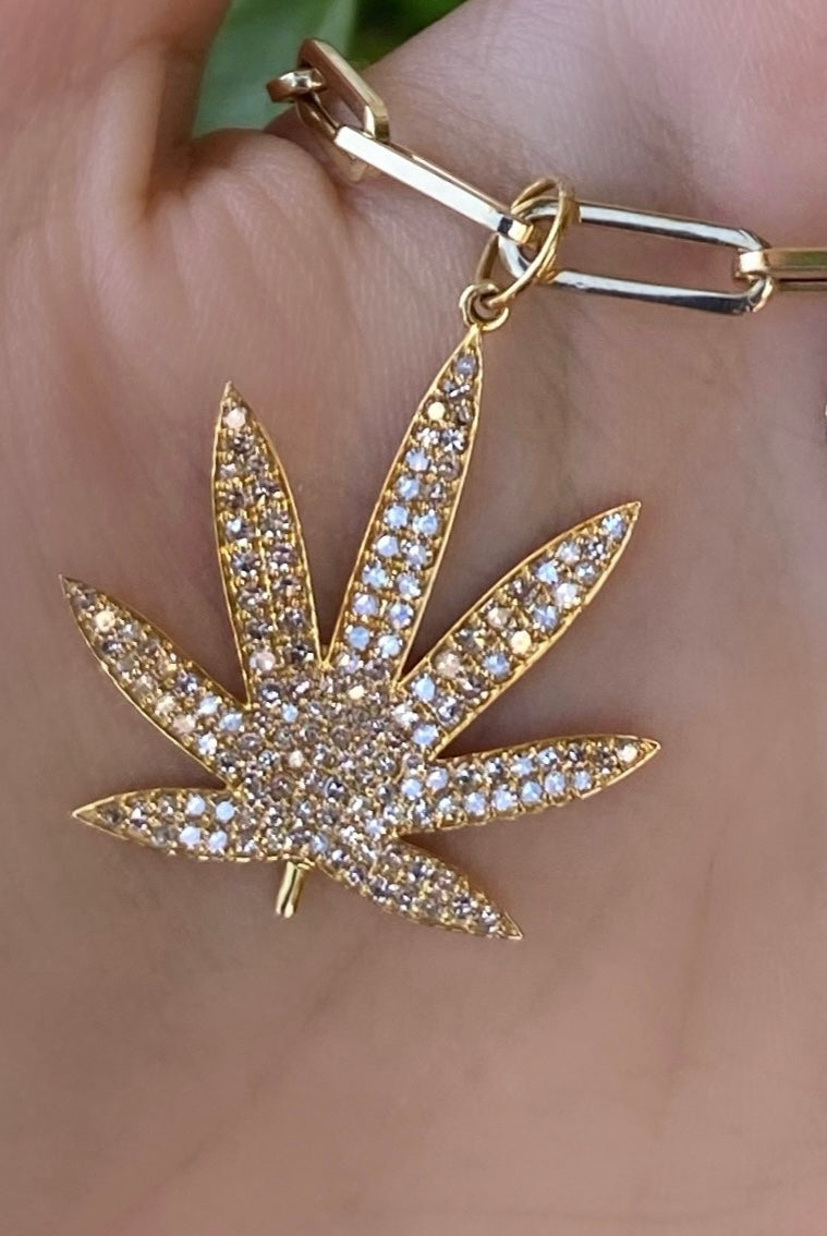 Diamond Pave Leaf Pendant