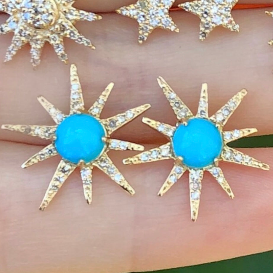 Big Turquoise Diamond Starburst Studs