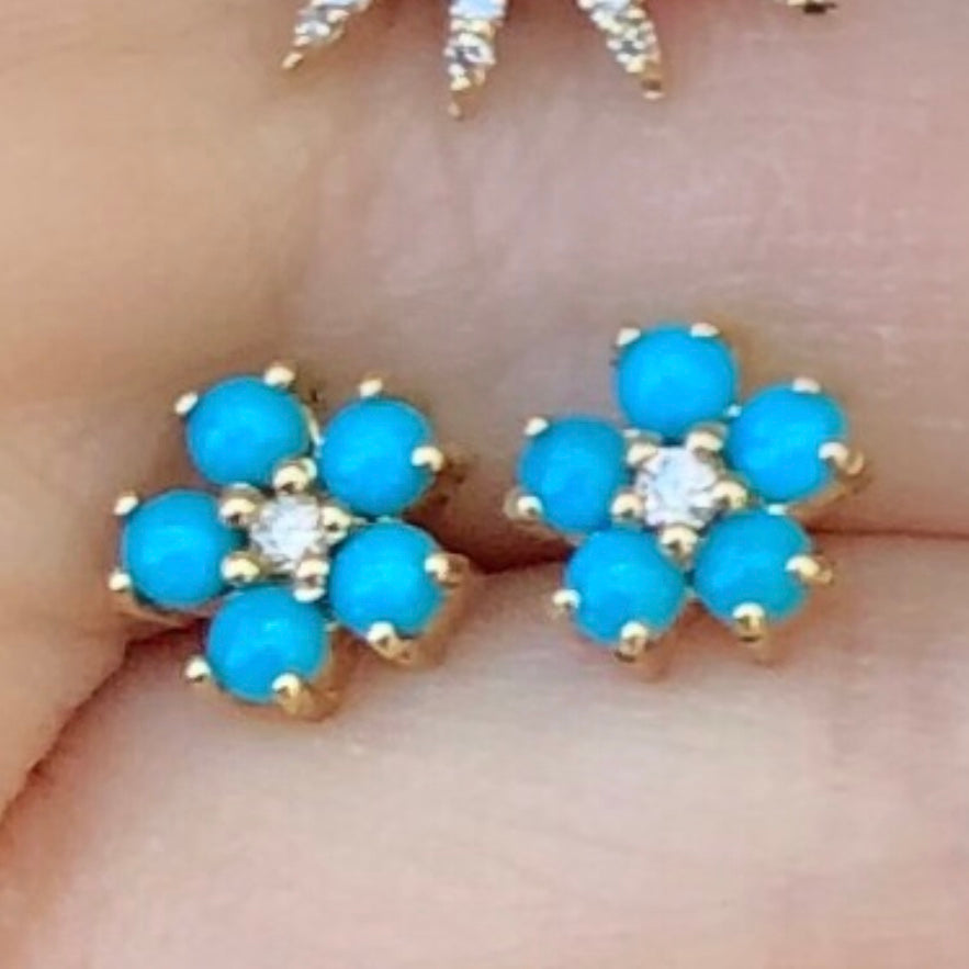 Turquoise Small Diamond Flower Studs