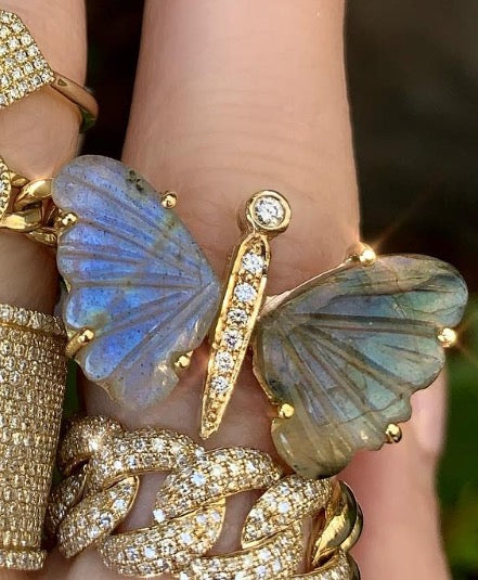 Medium Labradorite Butterfly Ring