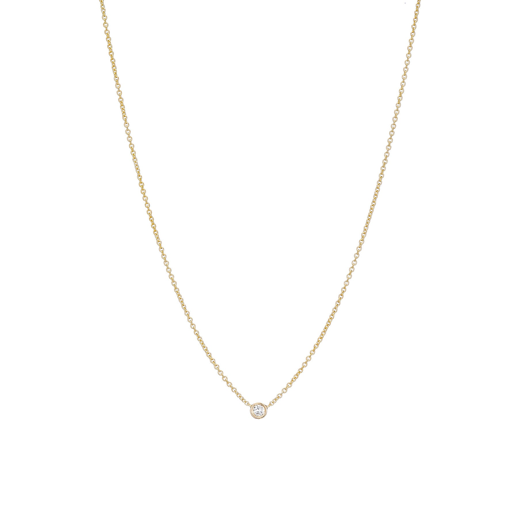 Tiny Diamond Bezel Necklace