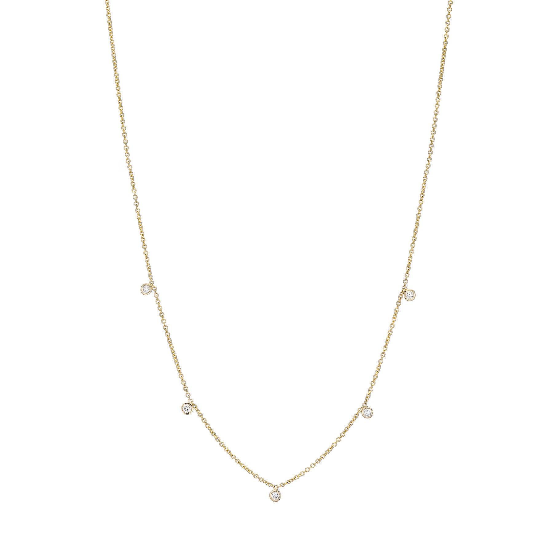 Five Tiny Diamond Drop Necklace