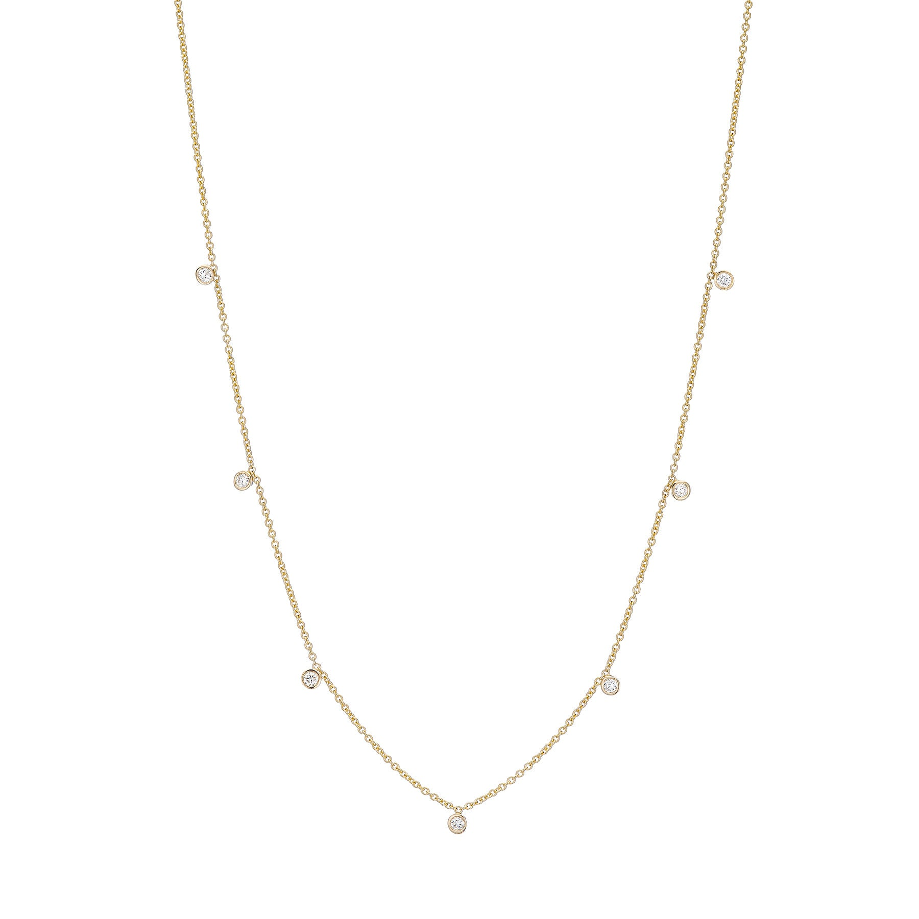 Seven Tiny Diamond Drop Necklace