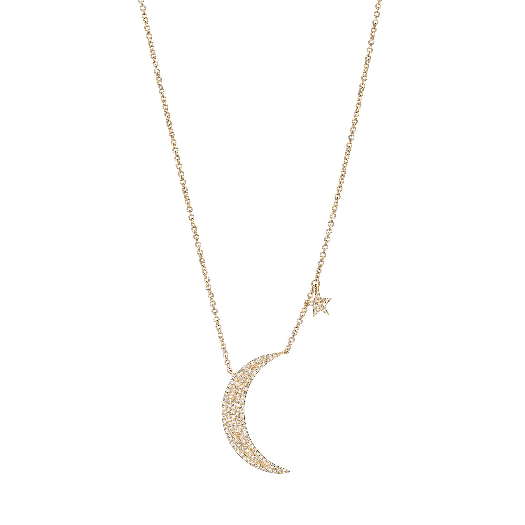 Pave Moon and Star Drop Necklace