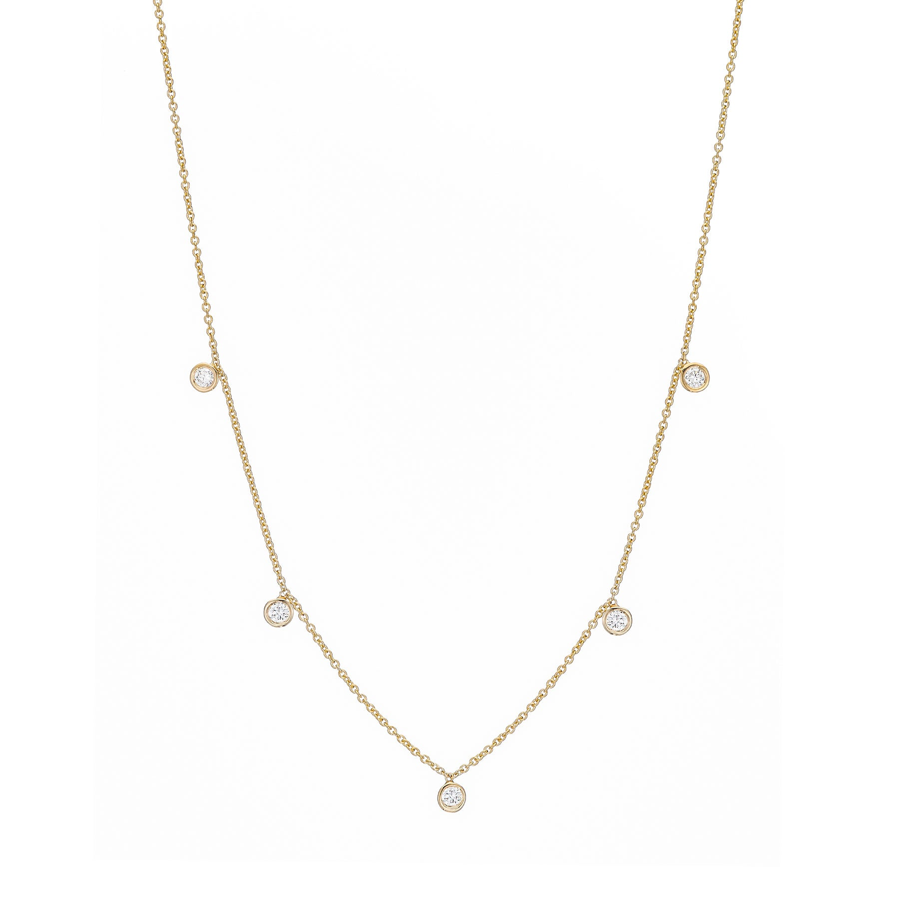 Five Diamond Drop Necklace