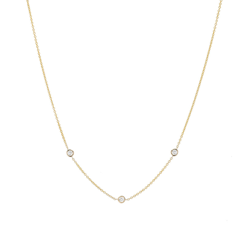 Three Diamond Bezel Choker