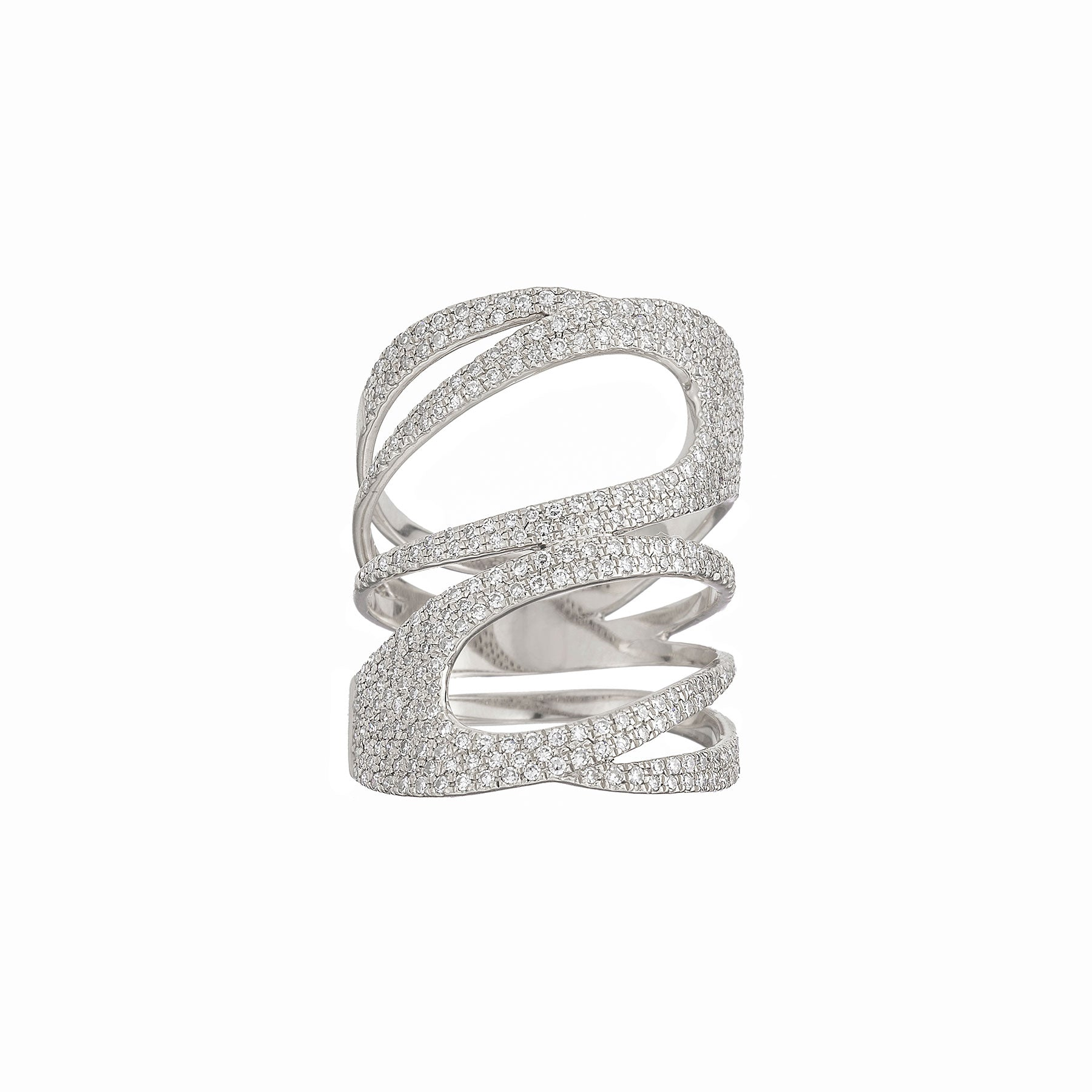 Pave Double Swirl Ring