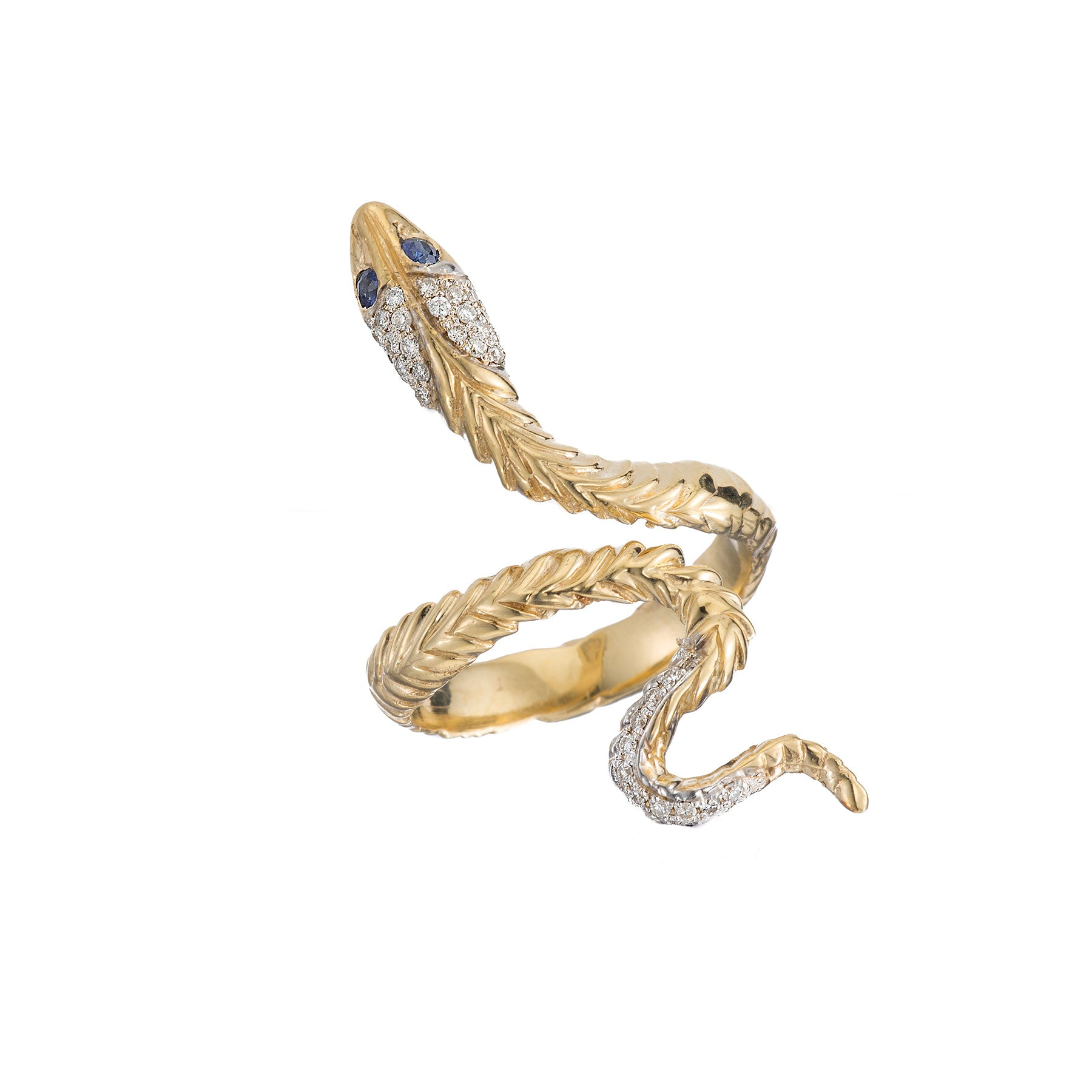 Pave Head and Tail Snake Ring
