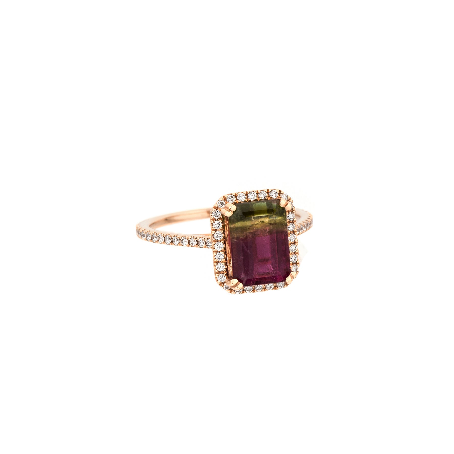 Bicolor Pink & Green Tourmaline Cushion Cut Ring