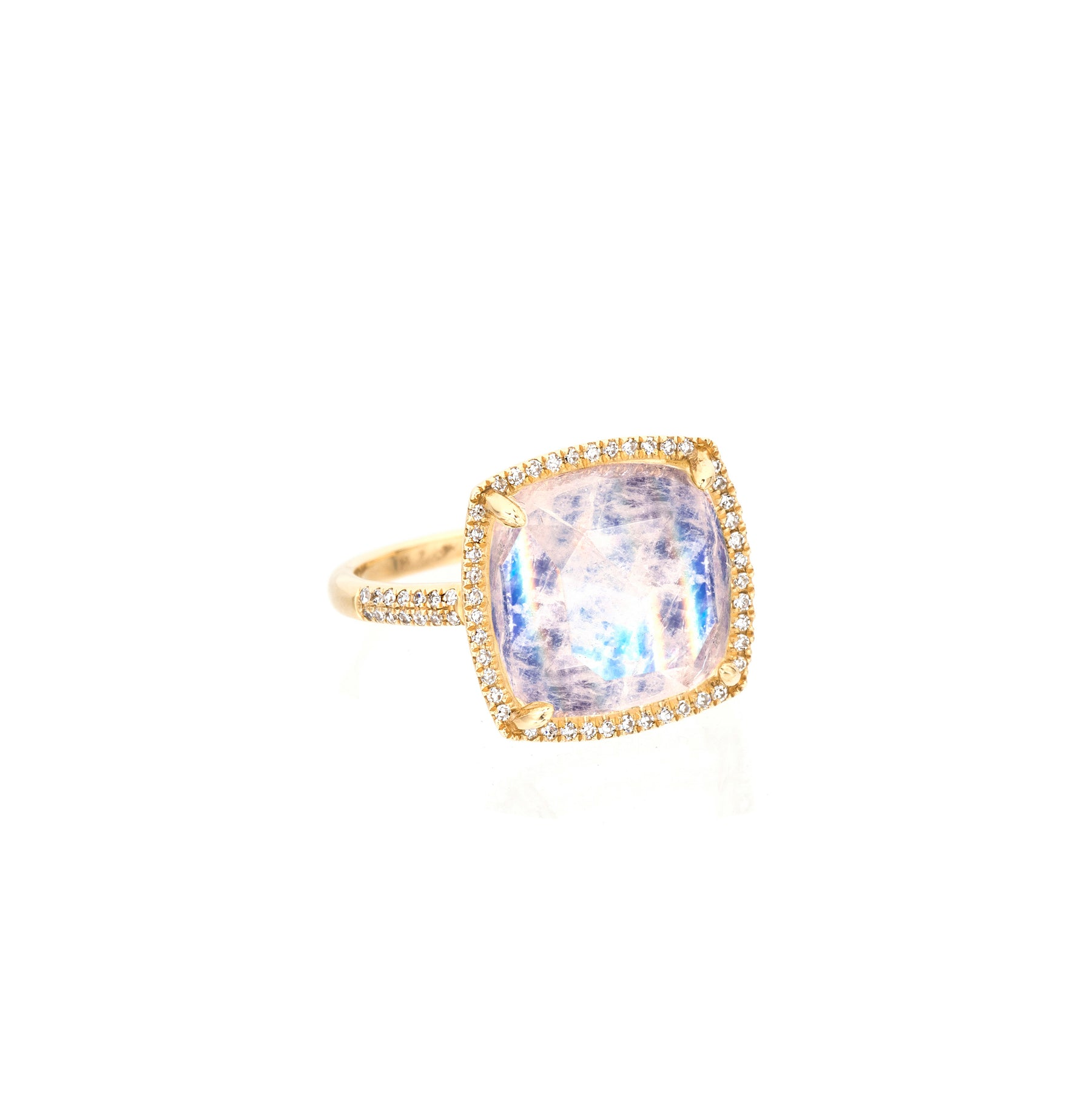 Moonstone Diamond Cushion Cut Ring