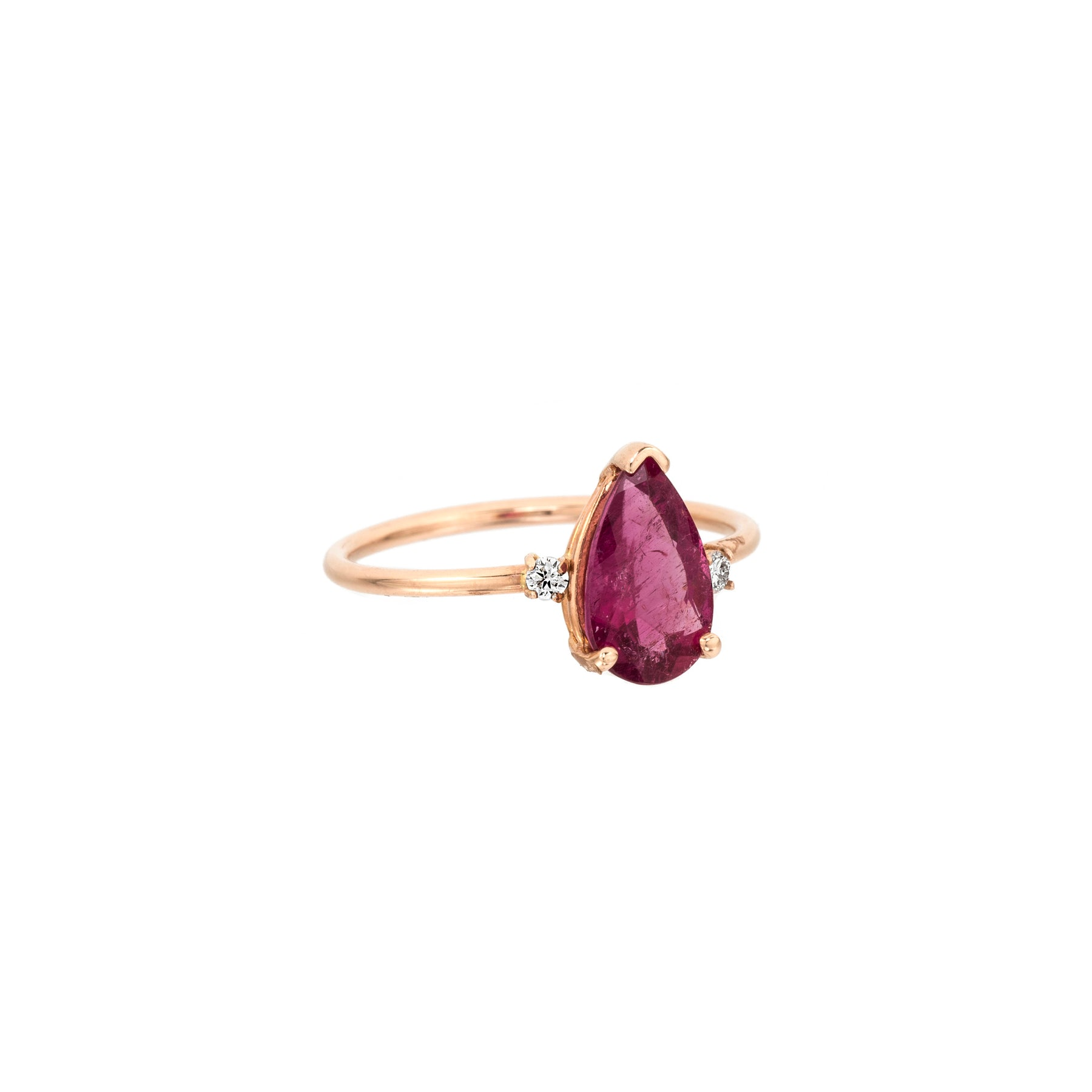 Pink Tourmaline Pear Shape Ring With Two Side Diamonds