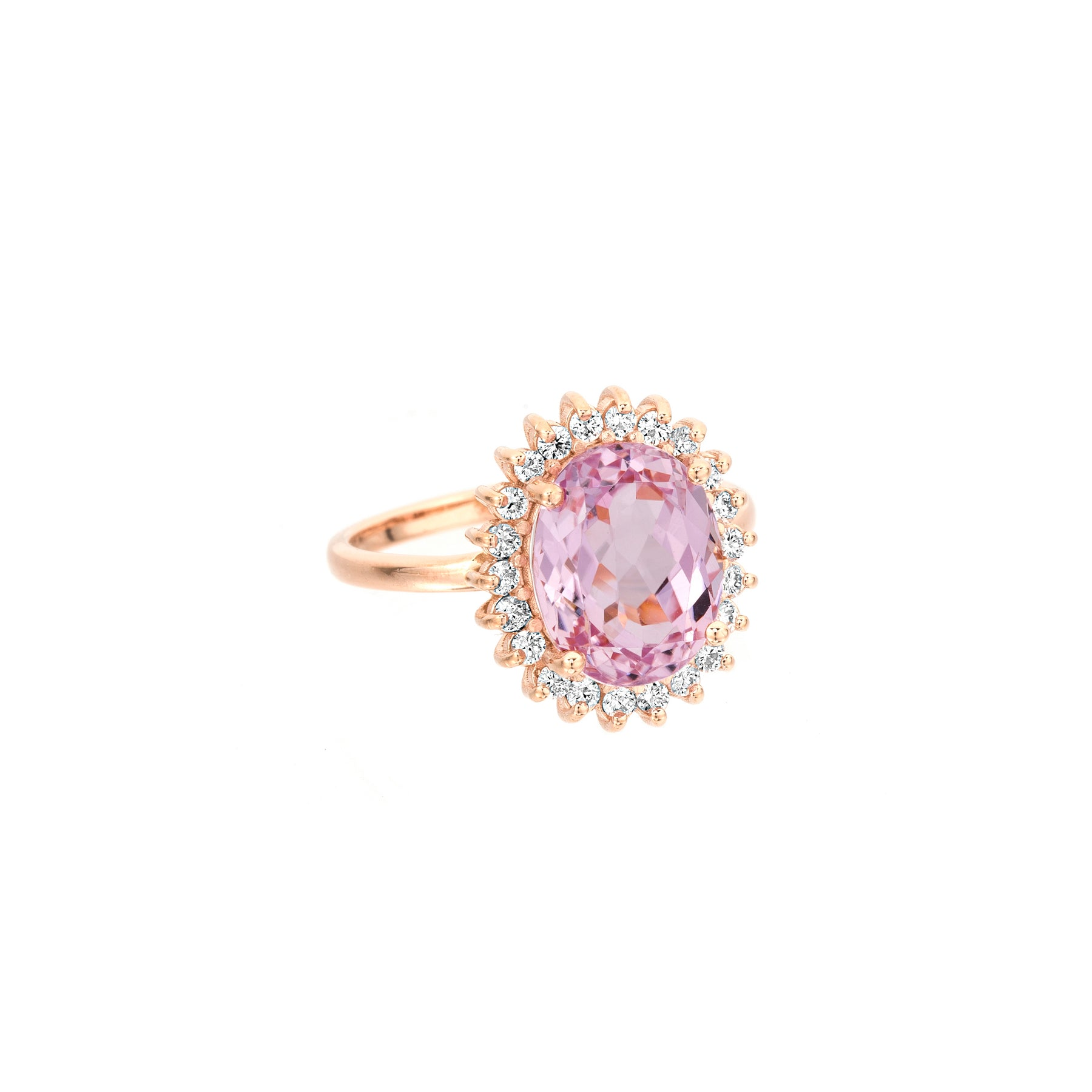 Kunzite Oval Princess Diamond Ring