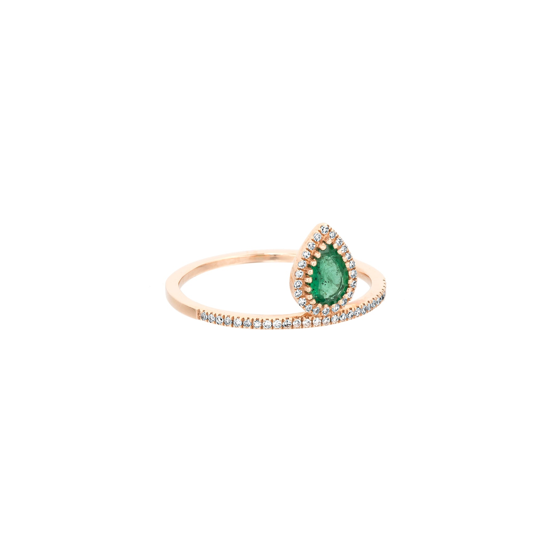 Emerald Tear Drop Diamond Ring