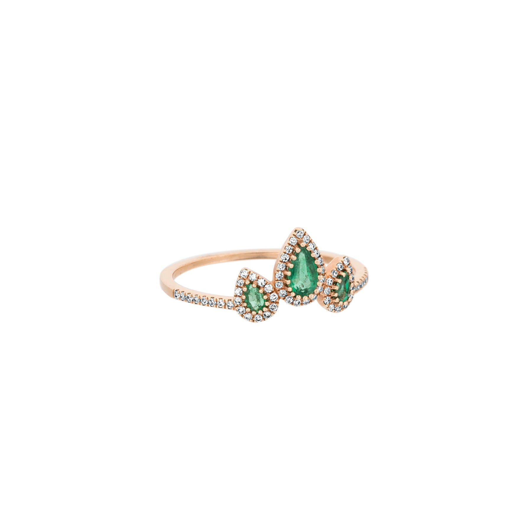 Emerald Diamond Crown Ring