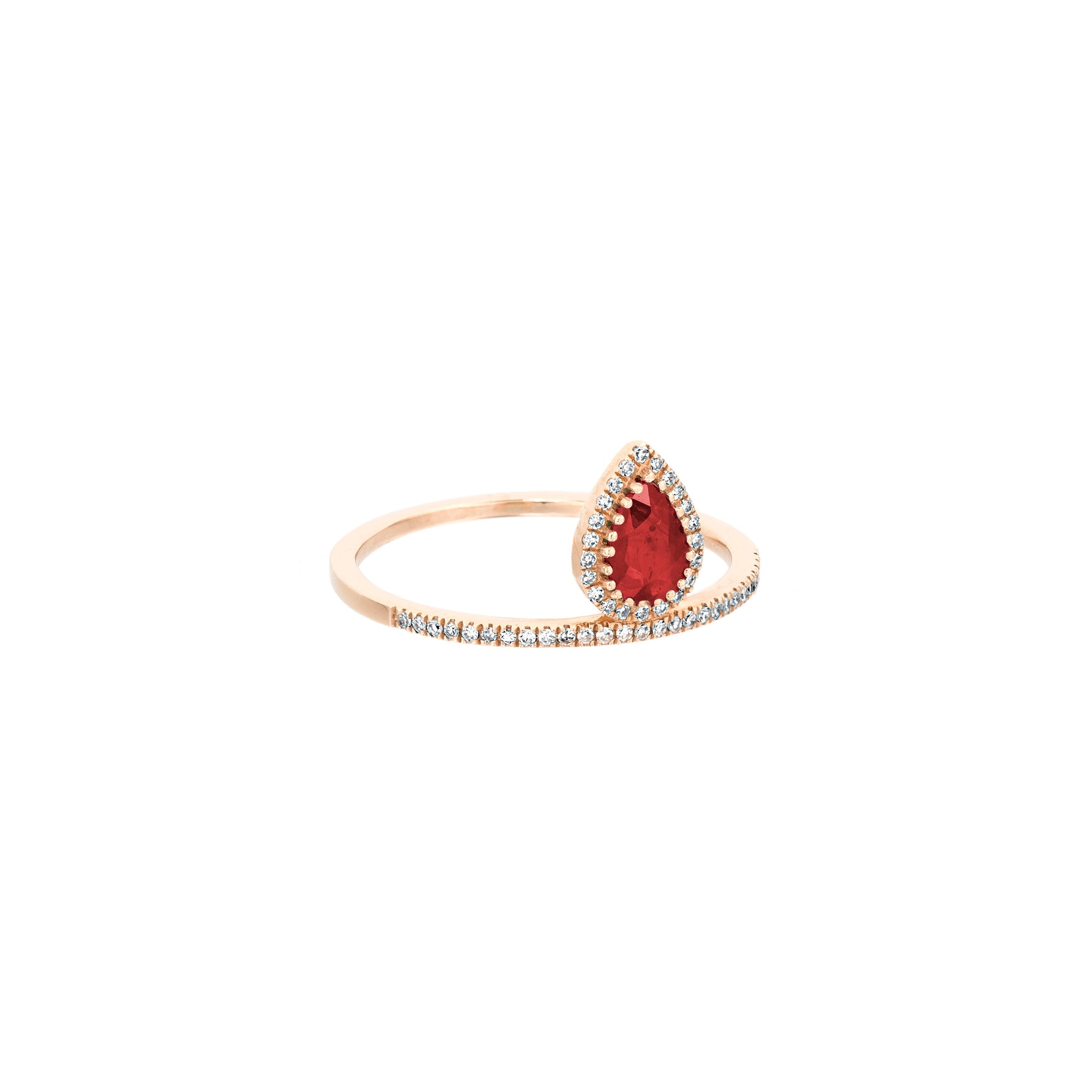 Ruby Tear Drop Top Band Diamond Ring