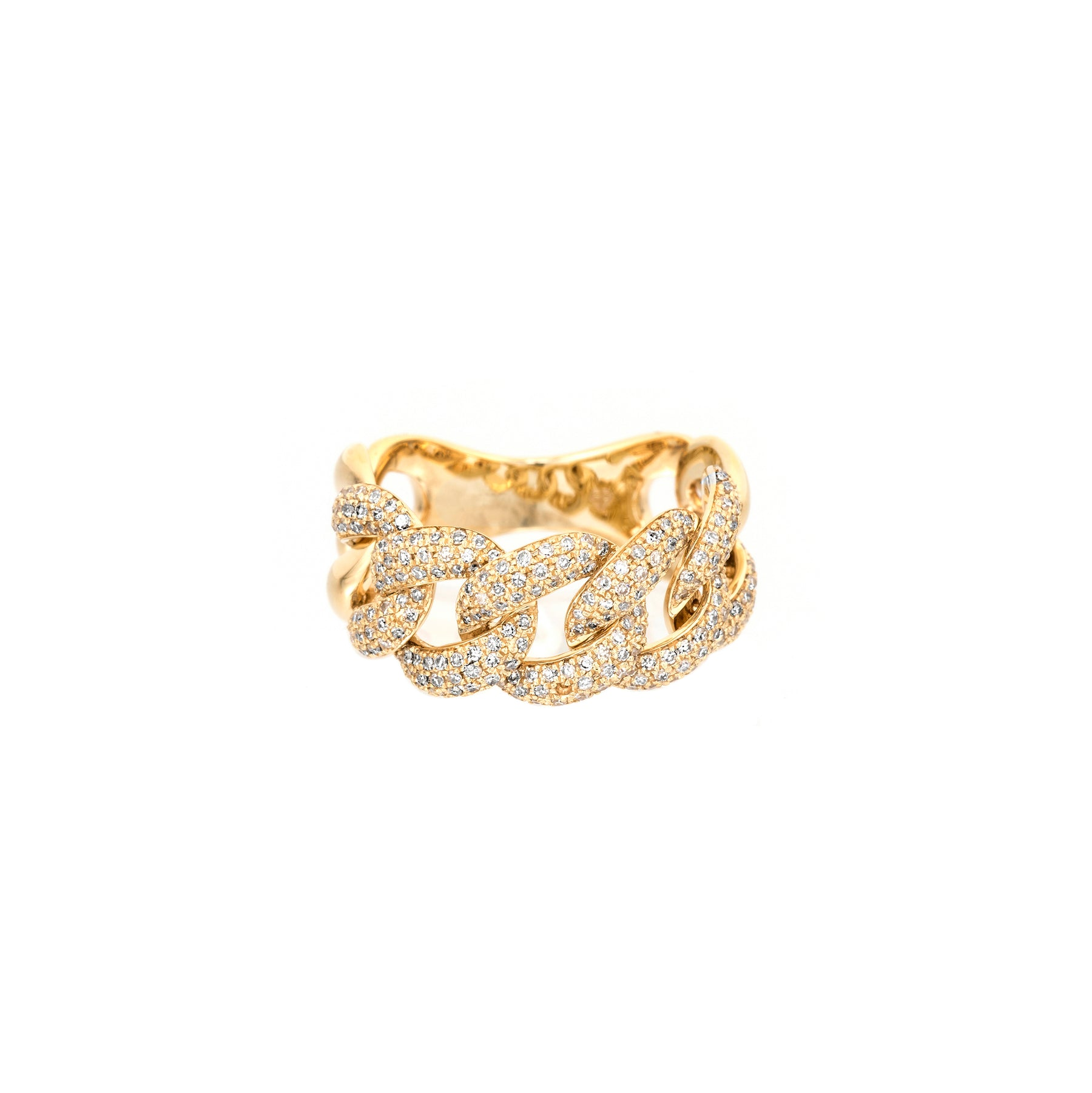 Thick Pave Chain Link Ring