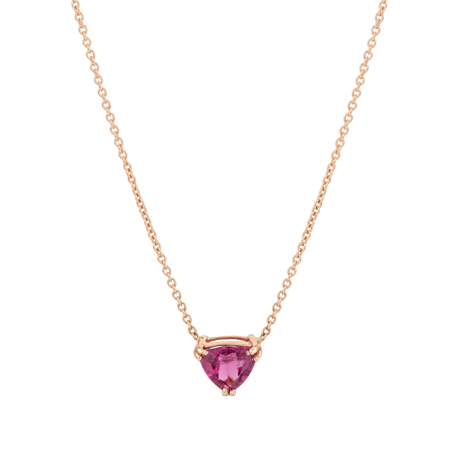 Pink Tourmaline Trillion Gem Candy Necklace