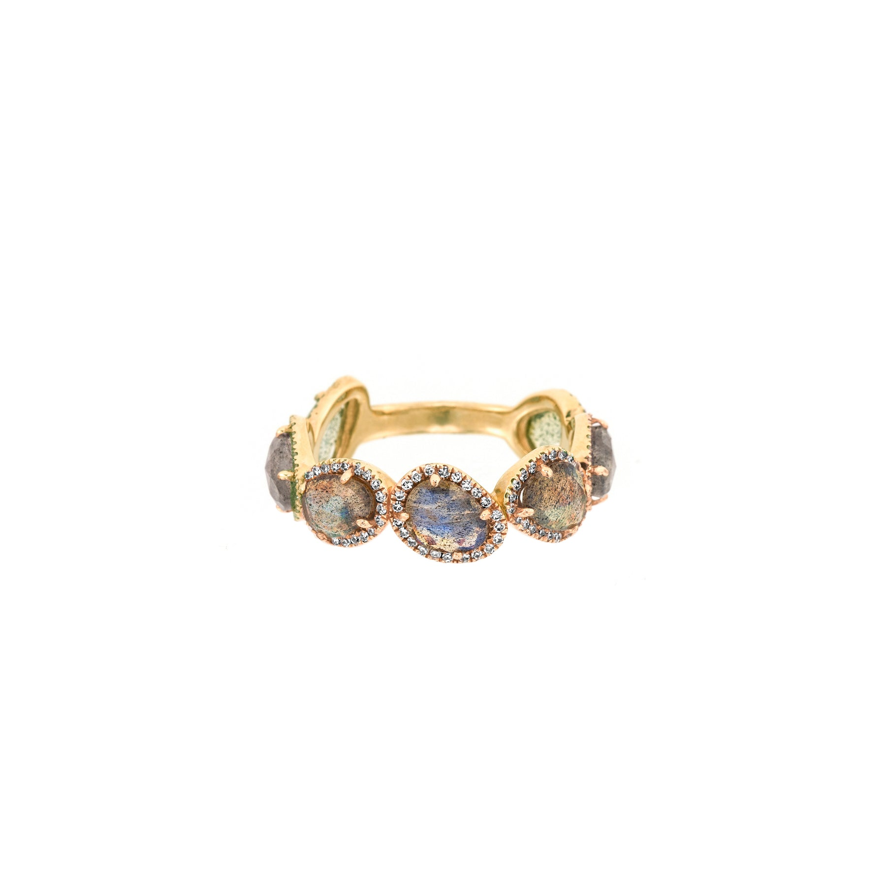 7 Organic Shape Labradorite Diamond Band Ring