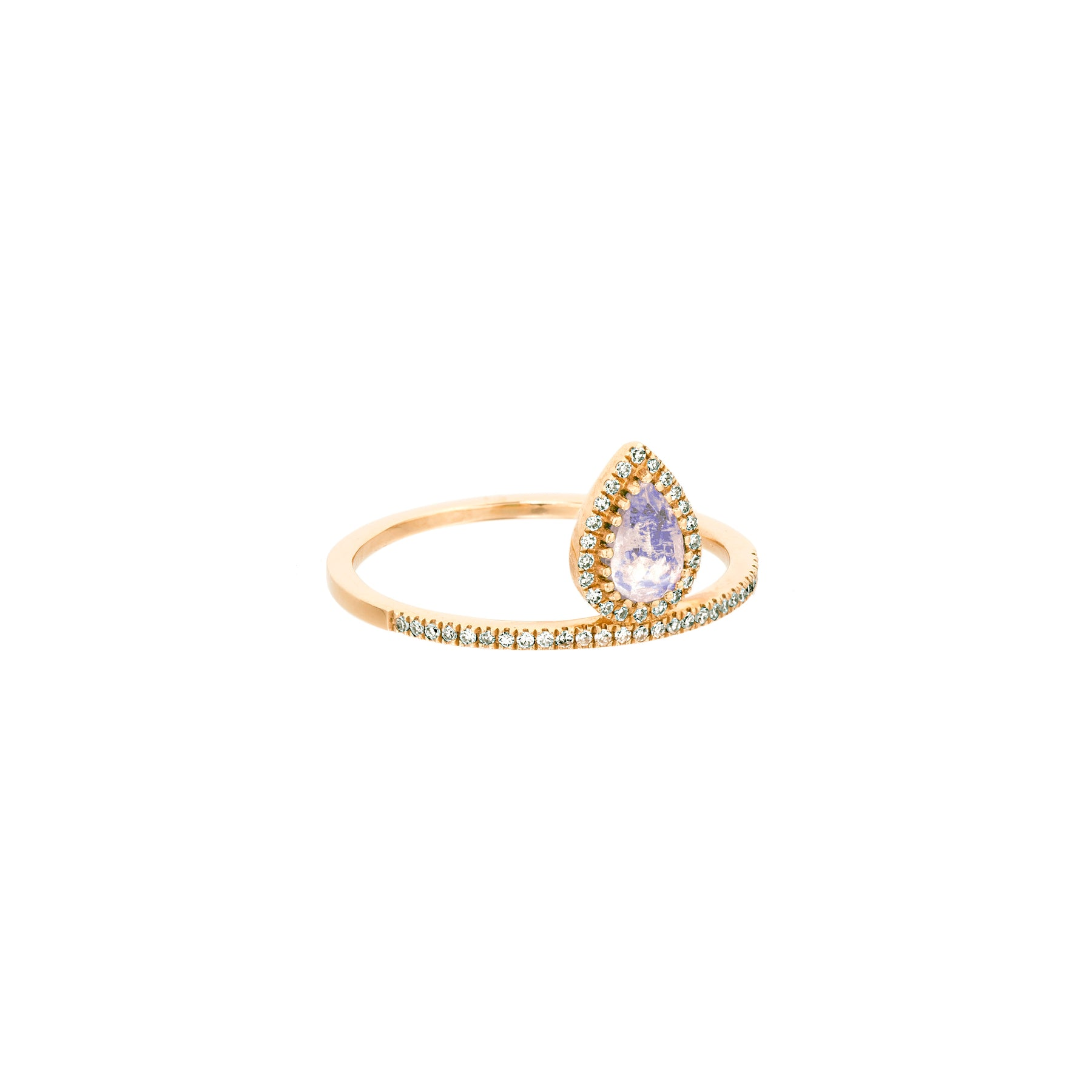 Moonstone Tear Drop Top Band Ring