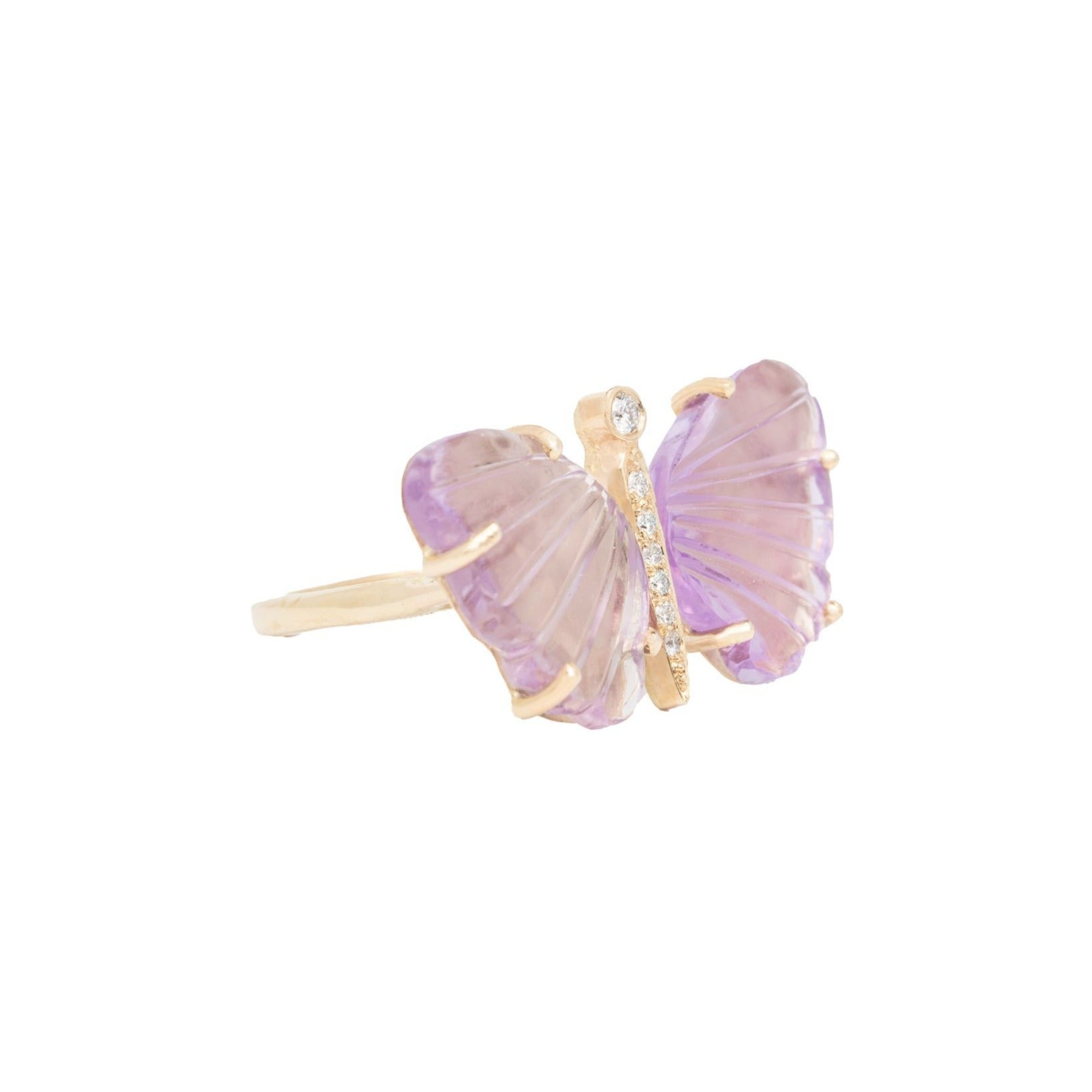 Medium Pink Amethyst Butterfly Ring