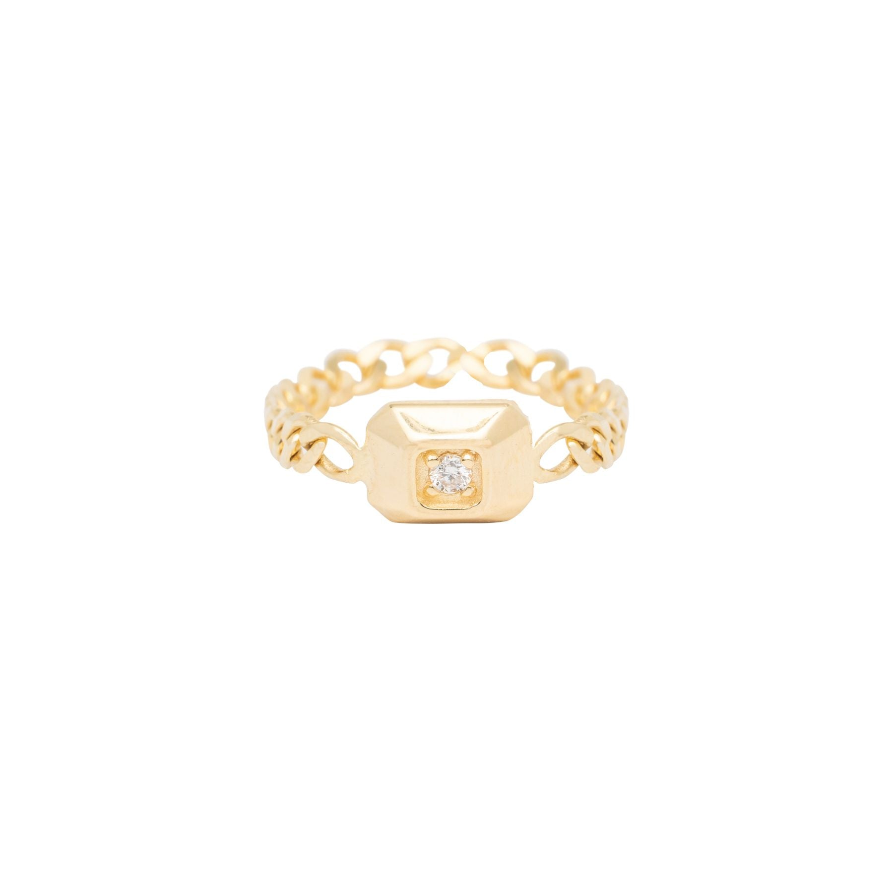 Rectangle Signet Single Diamond Chain Ring