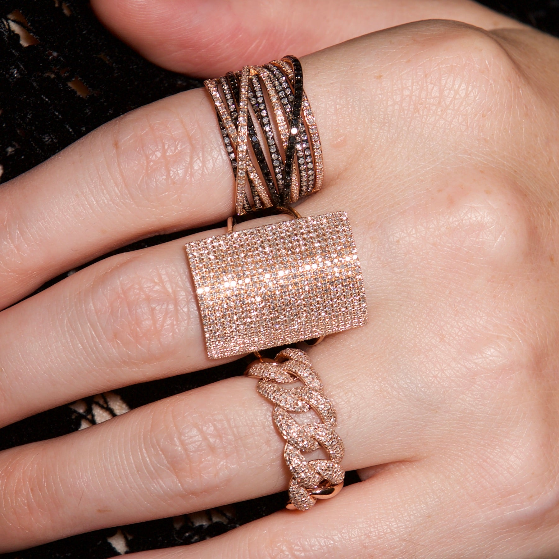 Thick Pave Chain Link Ring | Nina Segal Jewelry