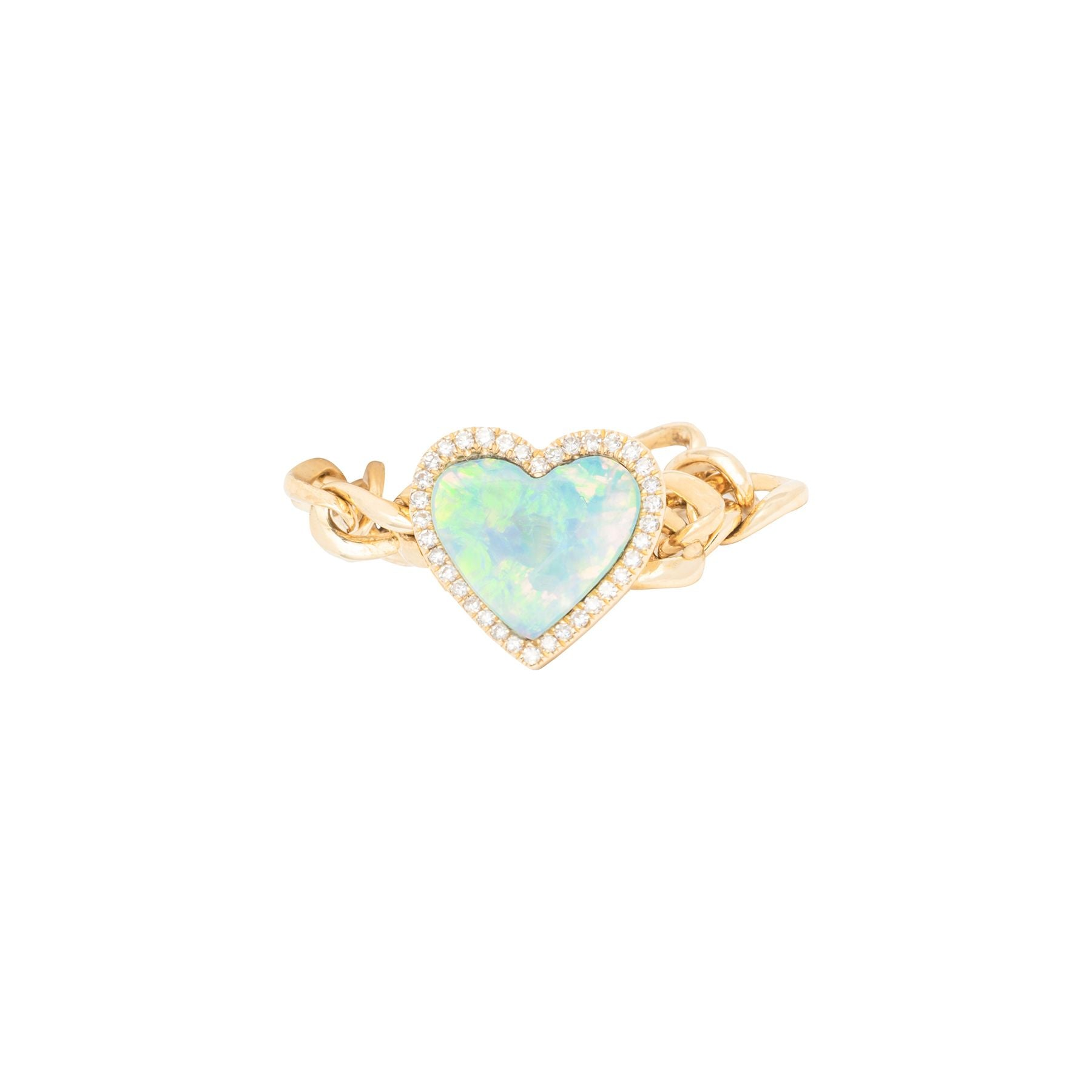 Opal Diamond Chain Heart Ring