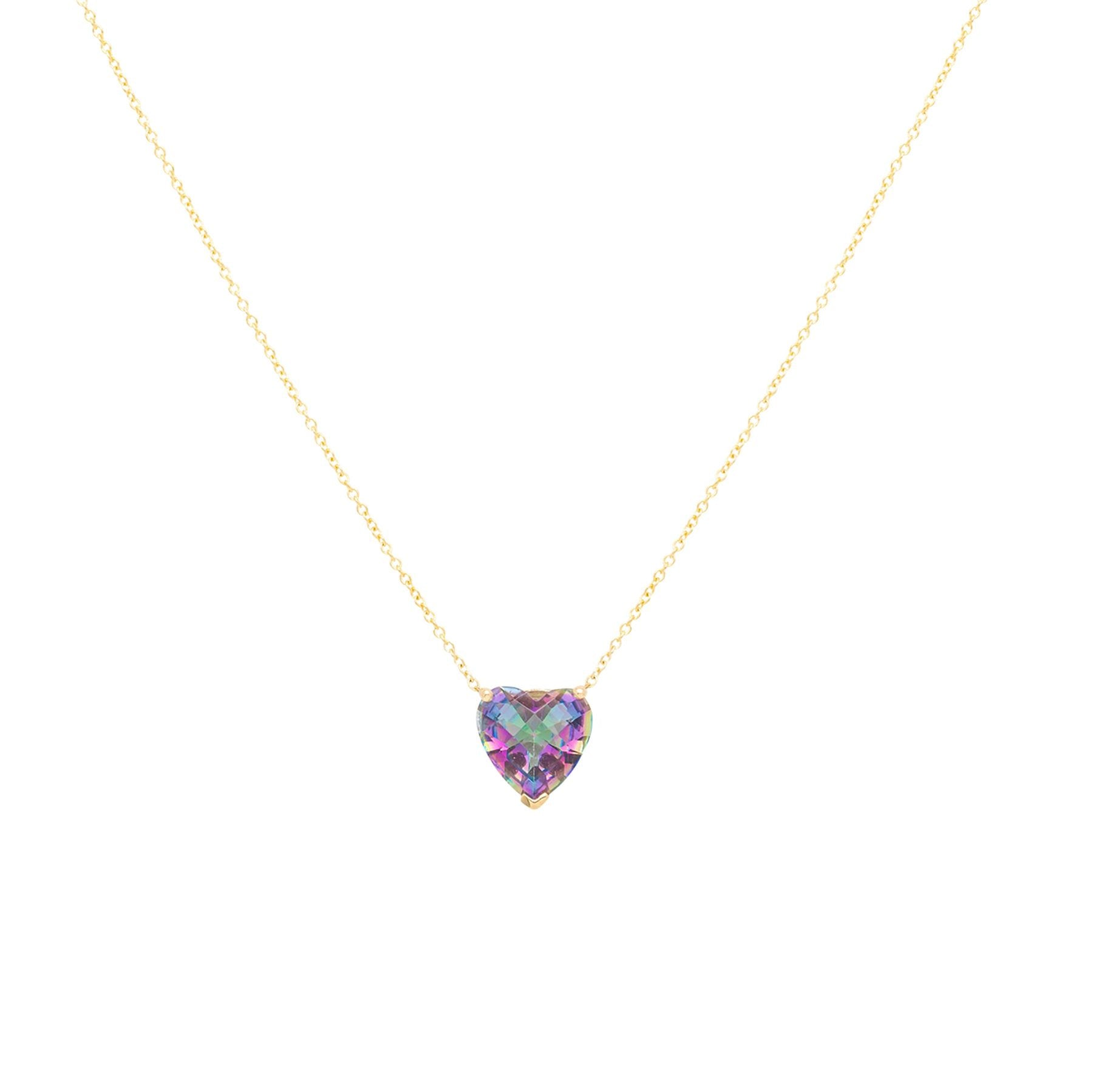 Purple Mystic Topaz Heart Gem Candy Necklace