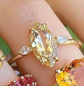 Yellow Beryl Marquise Pear Diamond Ring