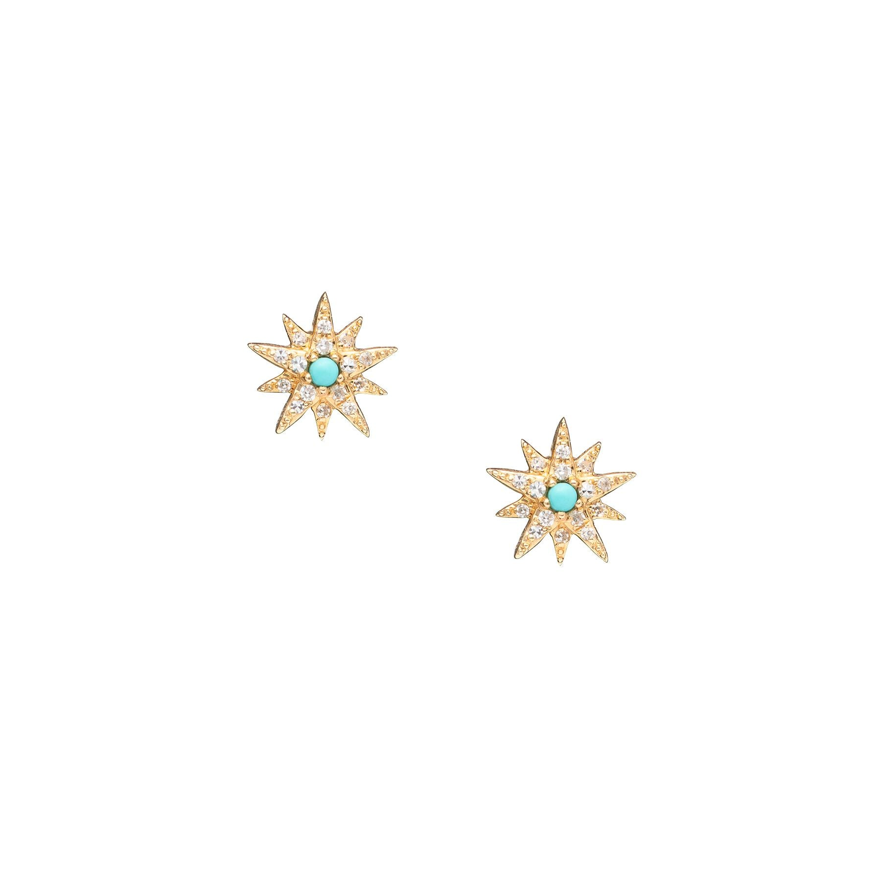 Tiny Pave Diamond Turquoise Starburst Studs