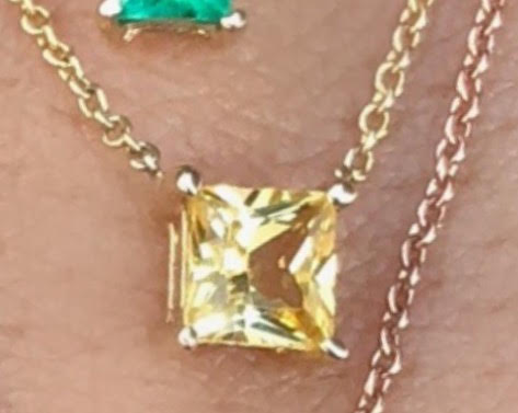 Yellow Sapphire Princess Cut Gem Candy Necklace