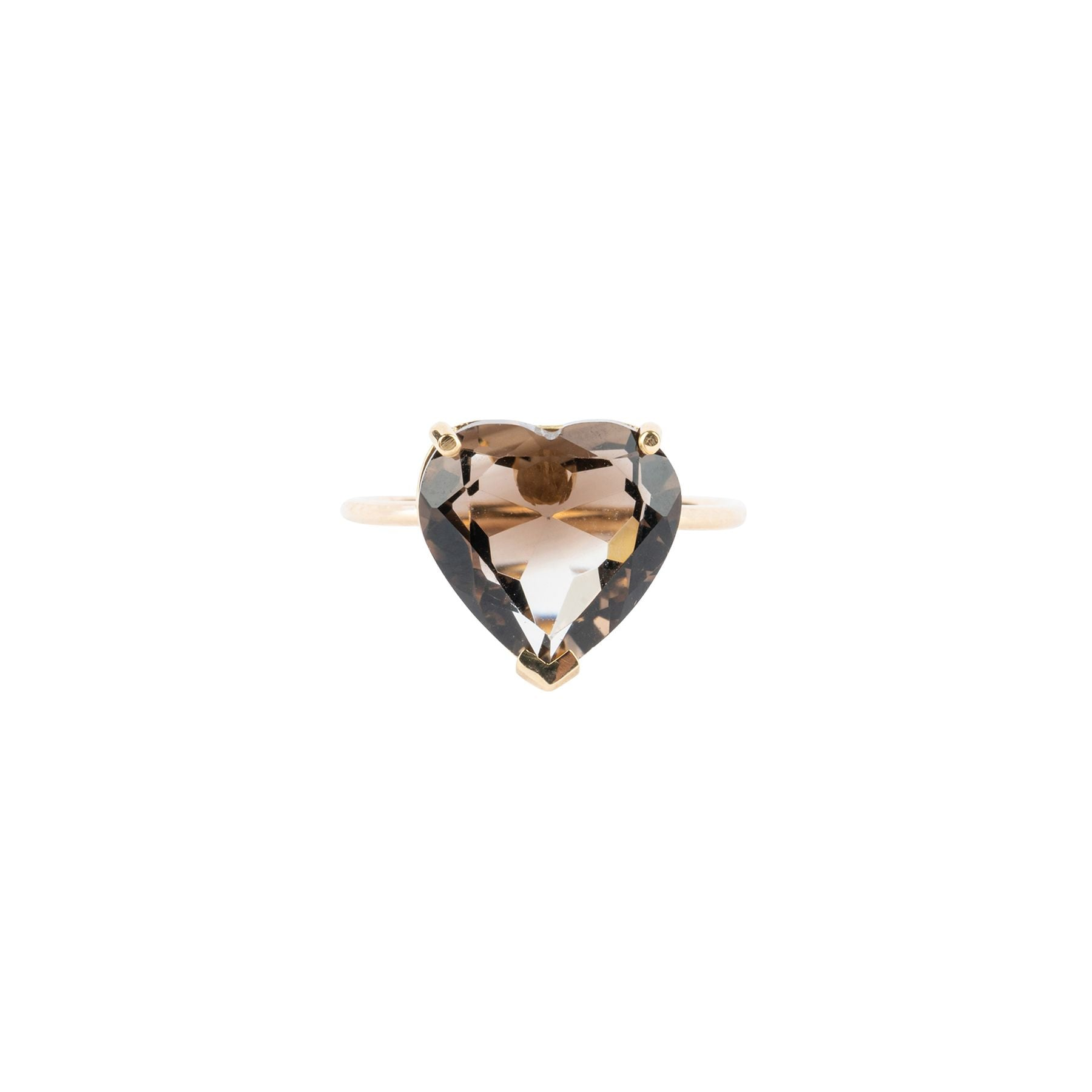 Large Smoky Quartz Heart Shape Ring