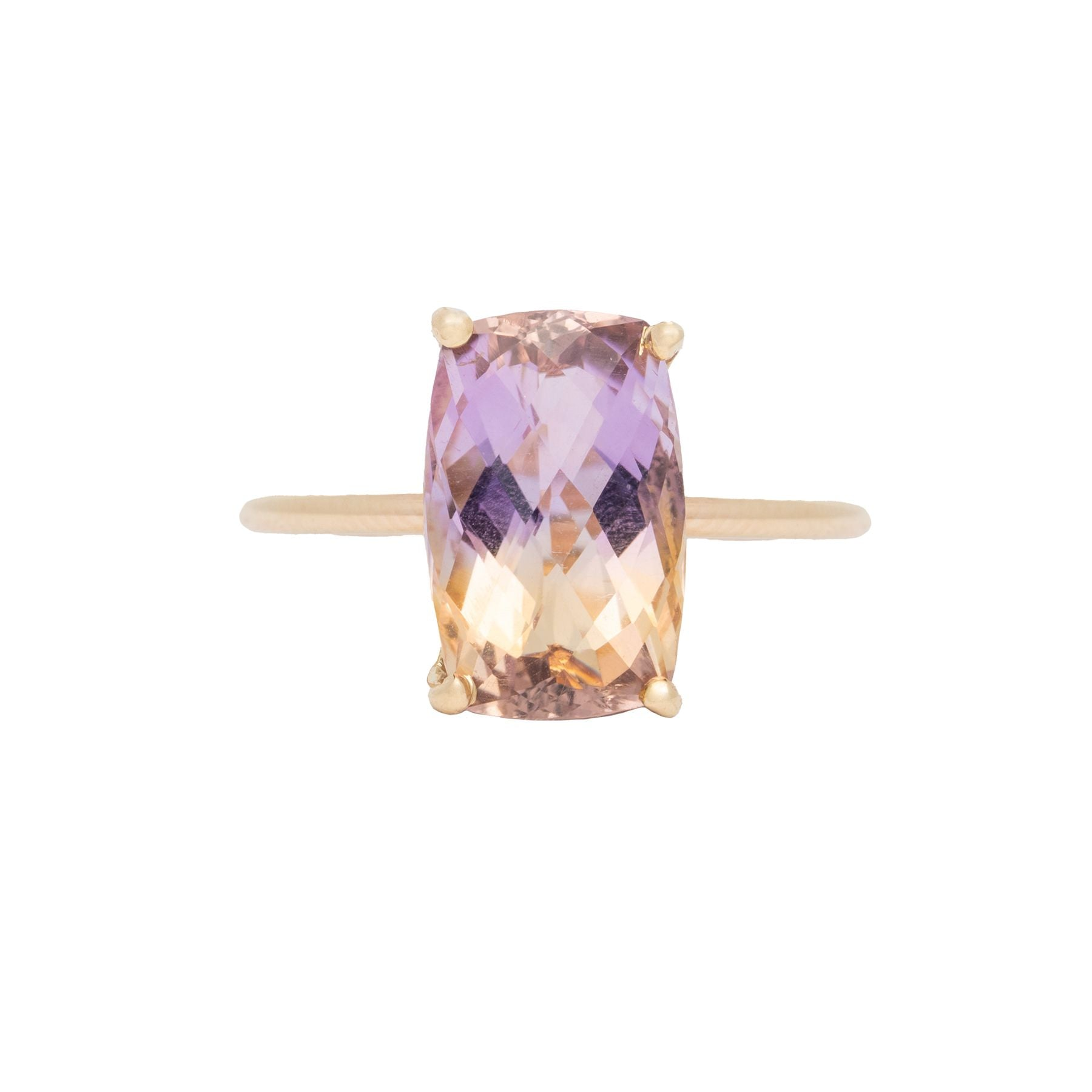 Ametrine Checkerboard Rectangle Gem Candy Ring