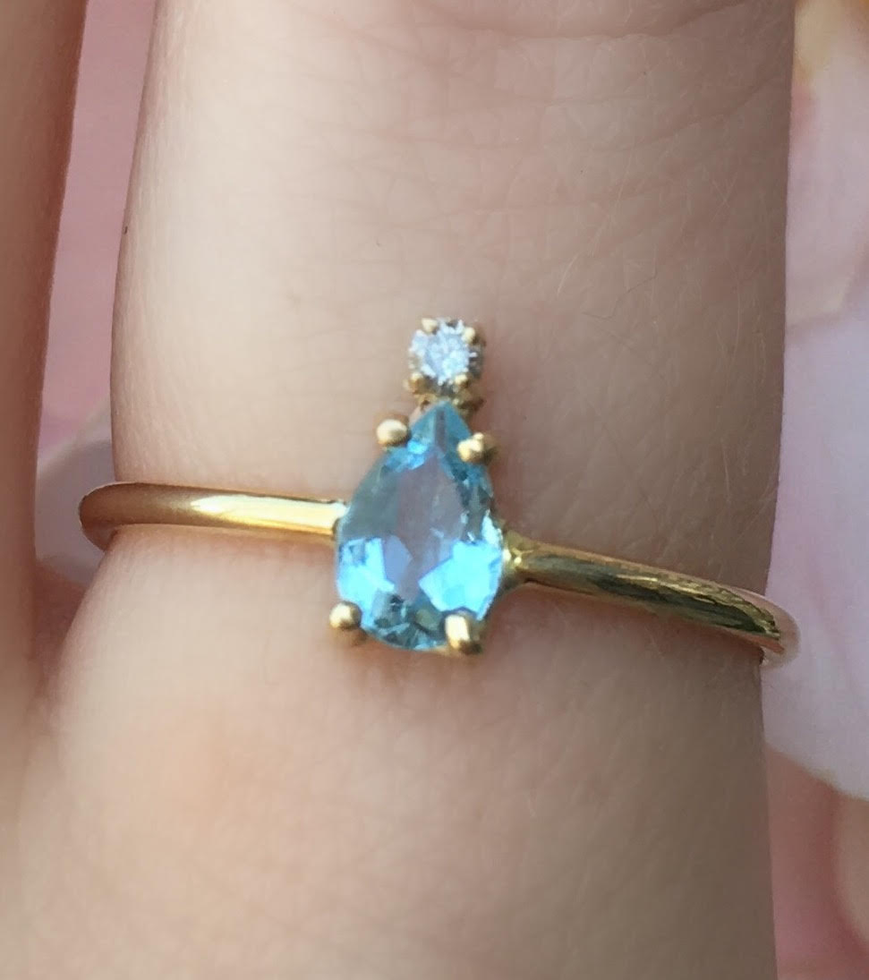 Aquamarine Pear With Diamond Tip Ring