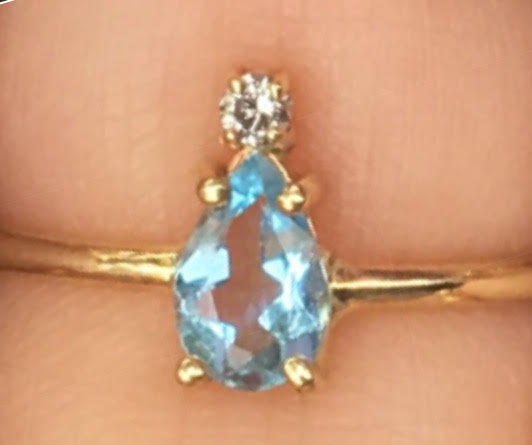 Aquamarine Top Diamond Bezel Ring