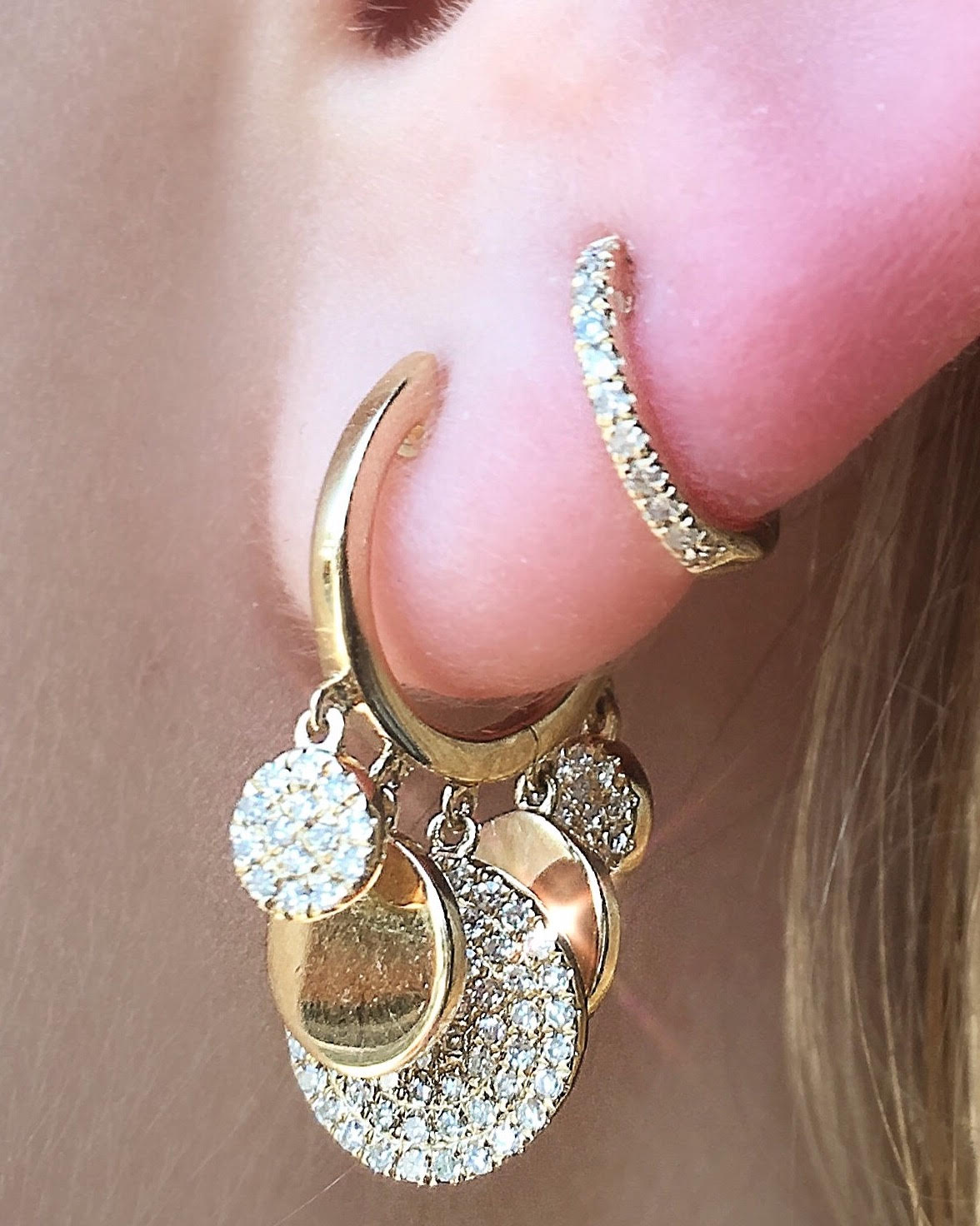 Dangling Disc Huggies With Pave Diamonds