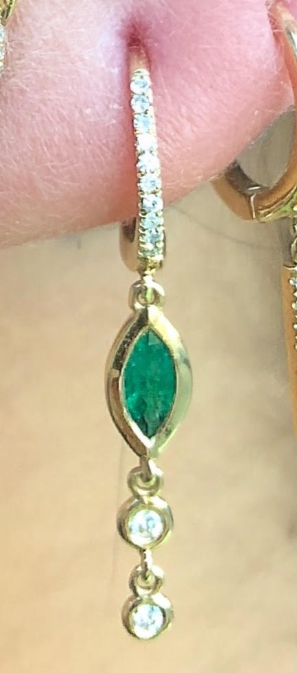 Emerald Marquise Diamond Bezel Drop Huggies