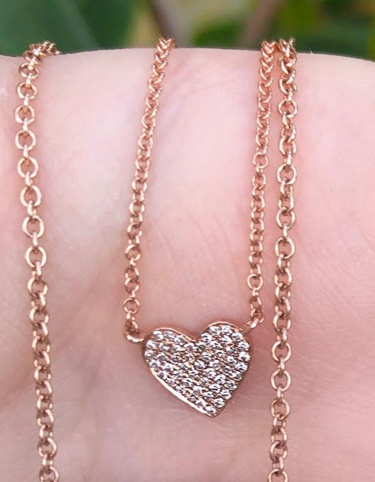 Tiny Diamond Pave Heart Necklace