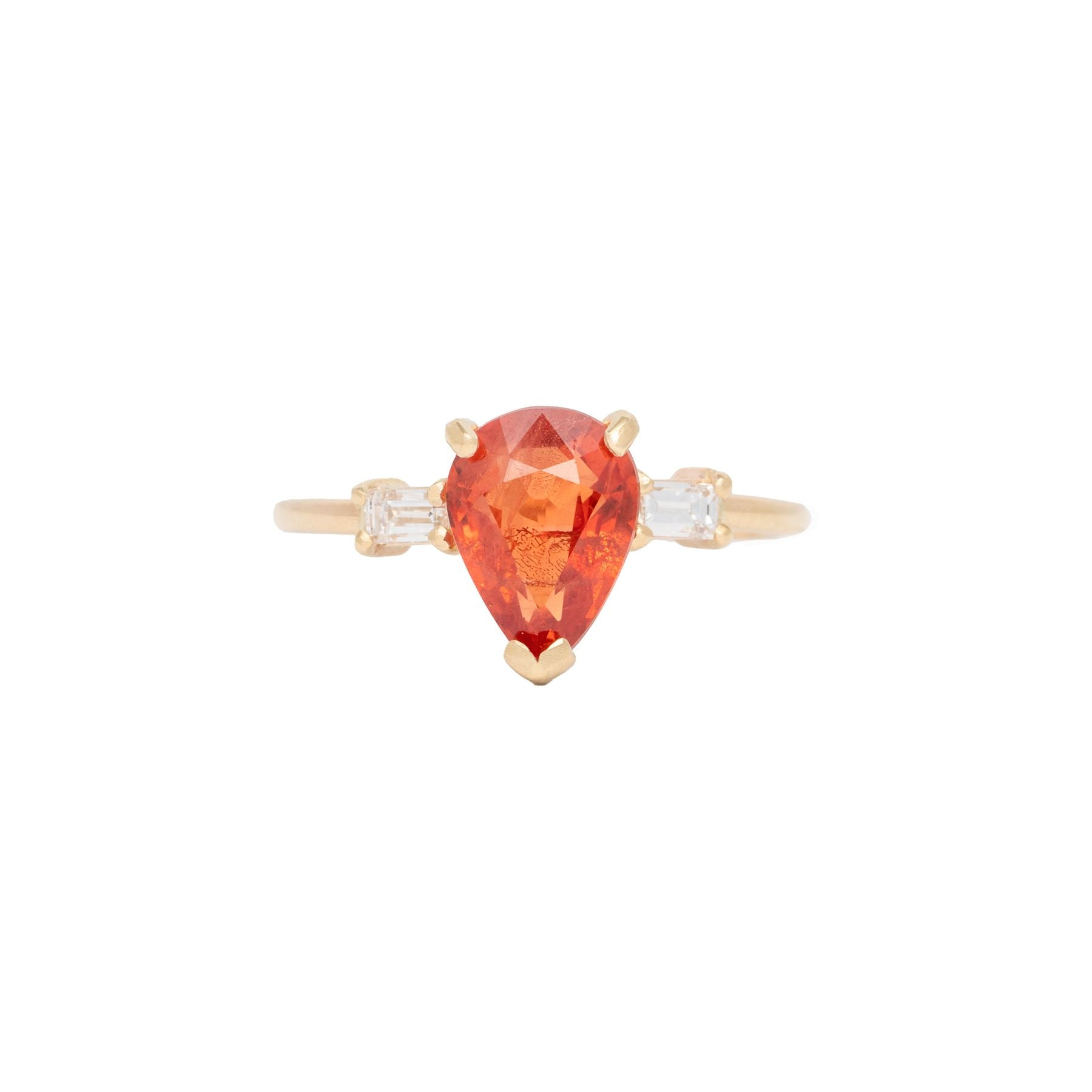 Orange Sapphire Pear 2 Baguette Diamond Ring