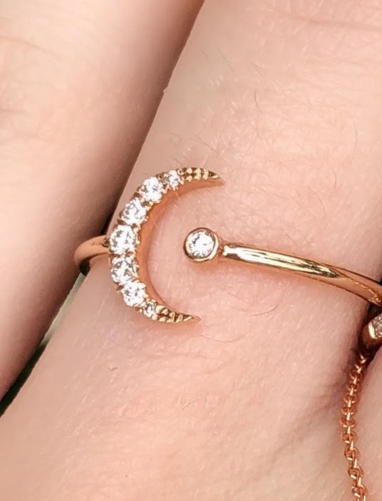 Tiny Open Diamond Moon Ring