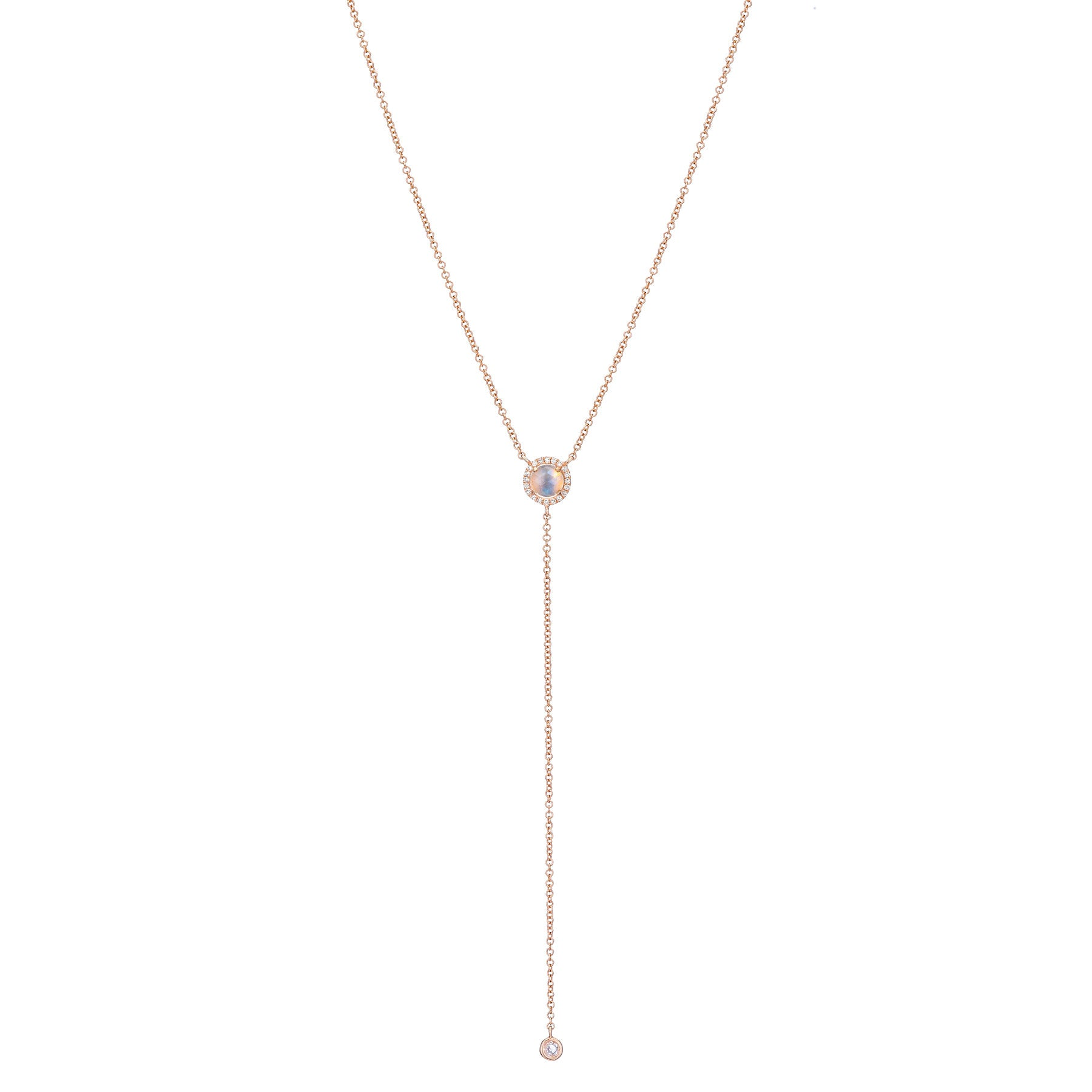Moonstone Diamond Lariat