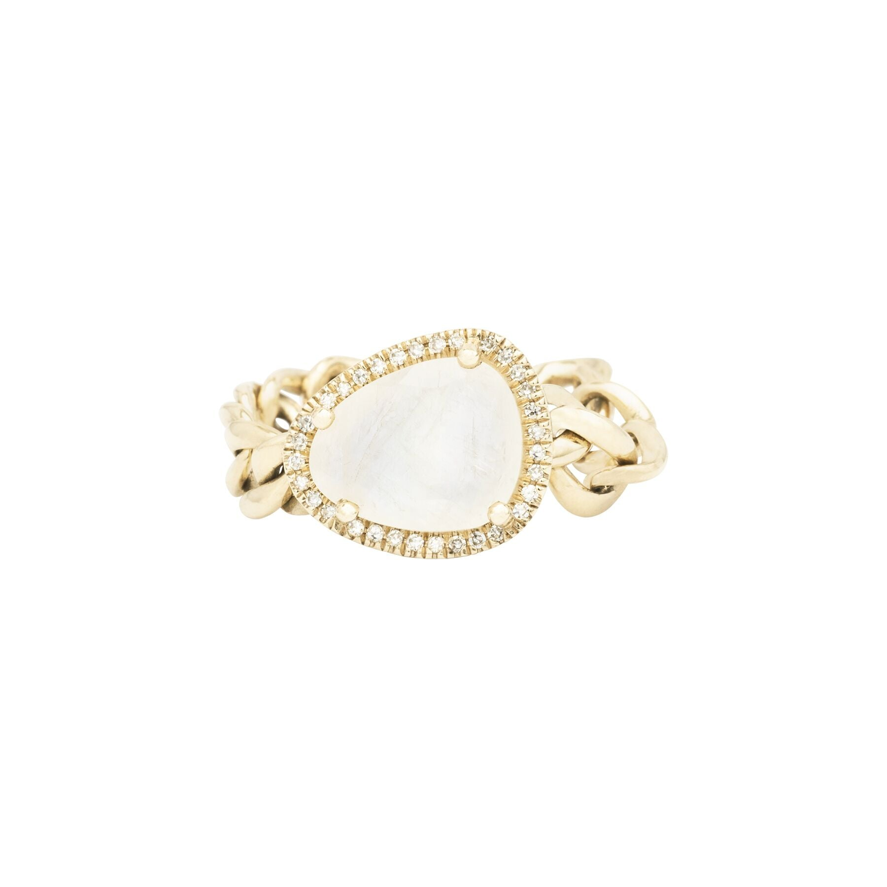 Organic Moonstone Diamond Chain Ring