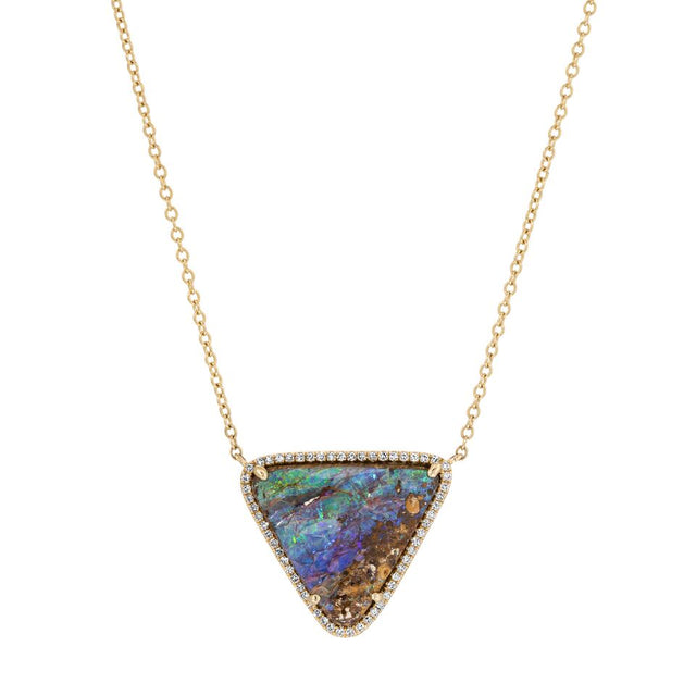 Australian Boulder Opal Diamond Triangle Necklace
