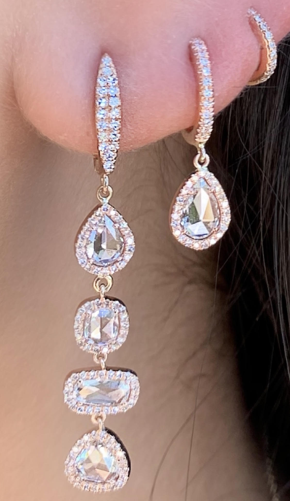 Rose Cut 4 Diamond Drop Earrings