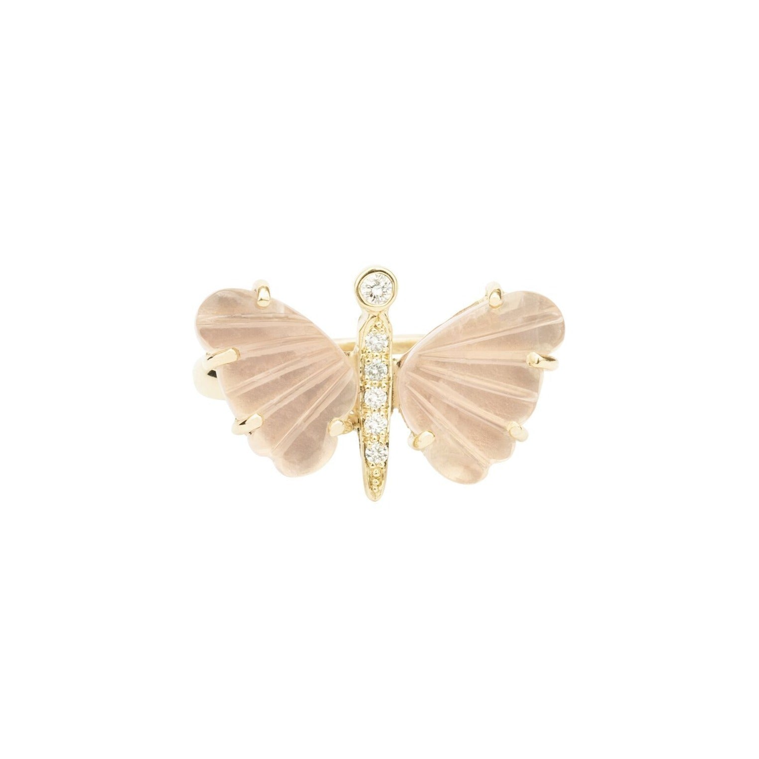 Small Rose Quartz Butterfly Diamond Ring