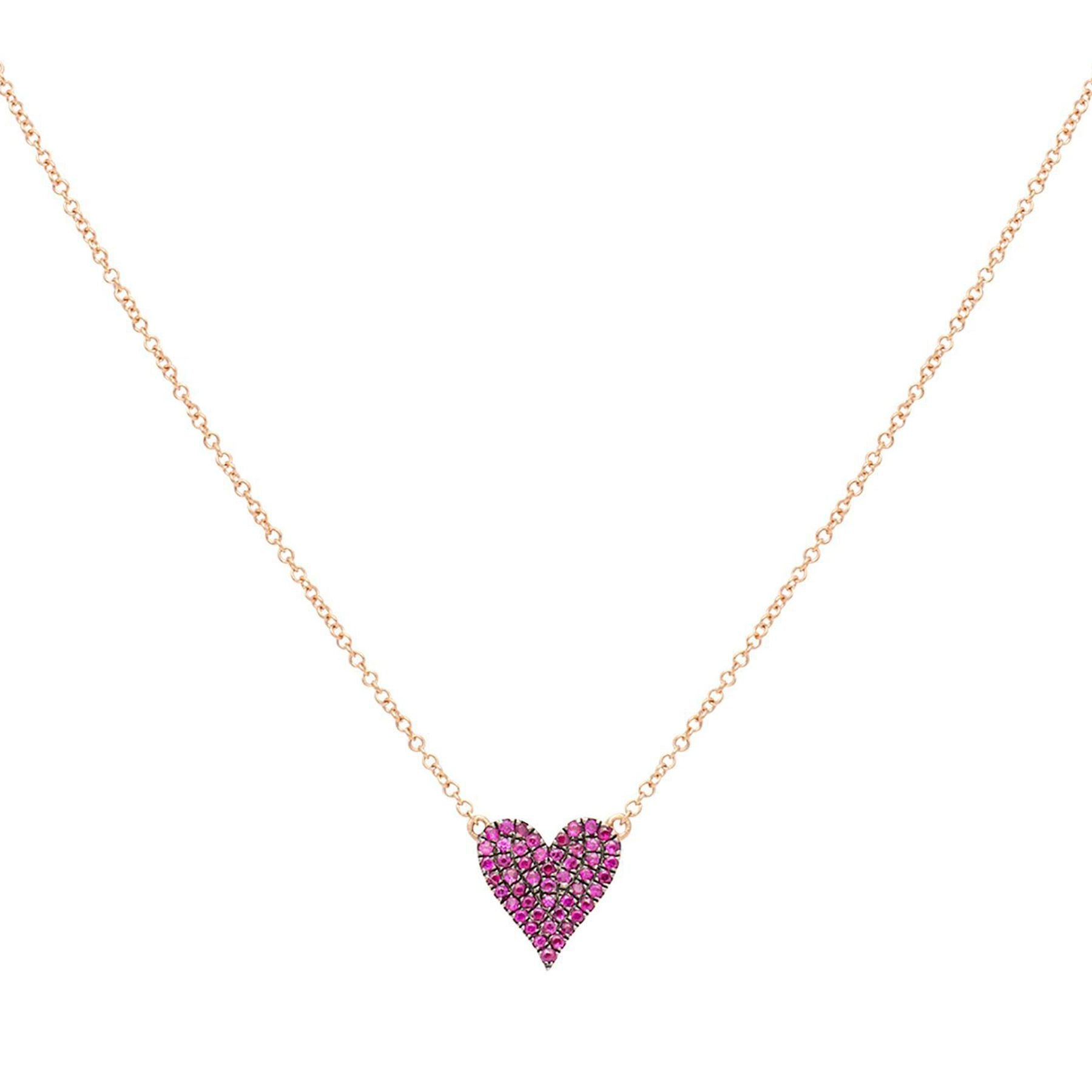 Ruby Diamond Reversible Heart Necklace
